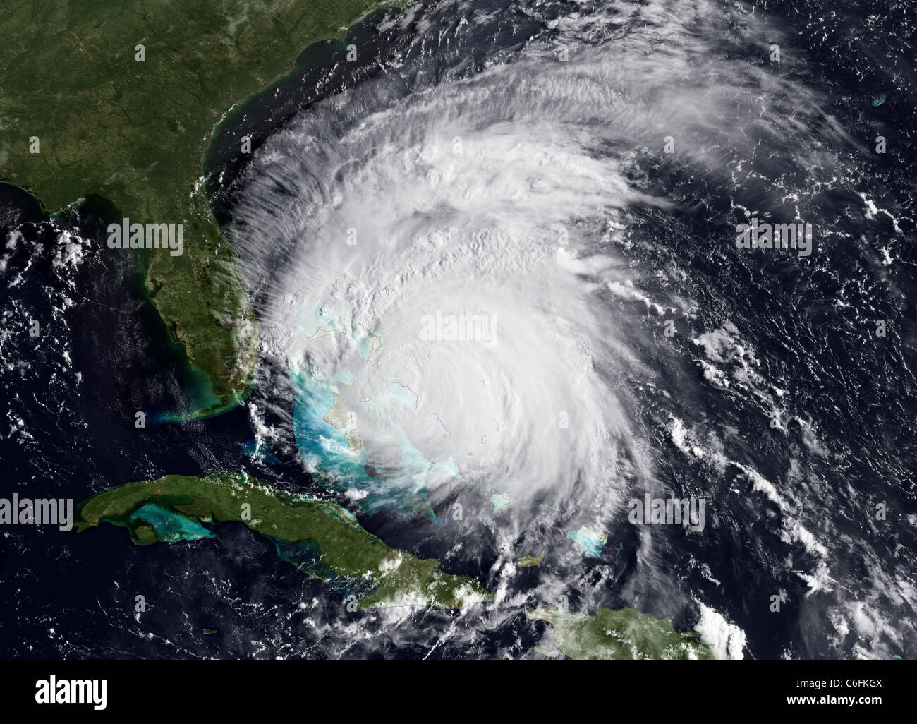Hurricane Irene Update - August 25, 2011 Irene is still packing a punch with 115 mph winds. Although the eye has Stock Photo