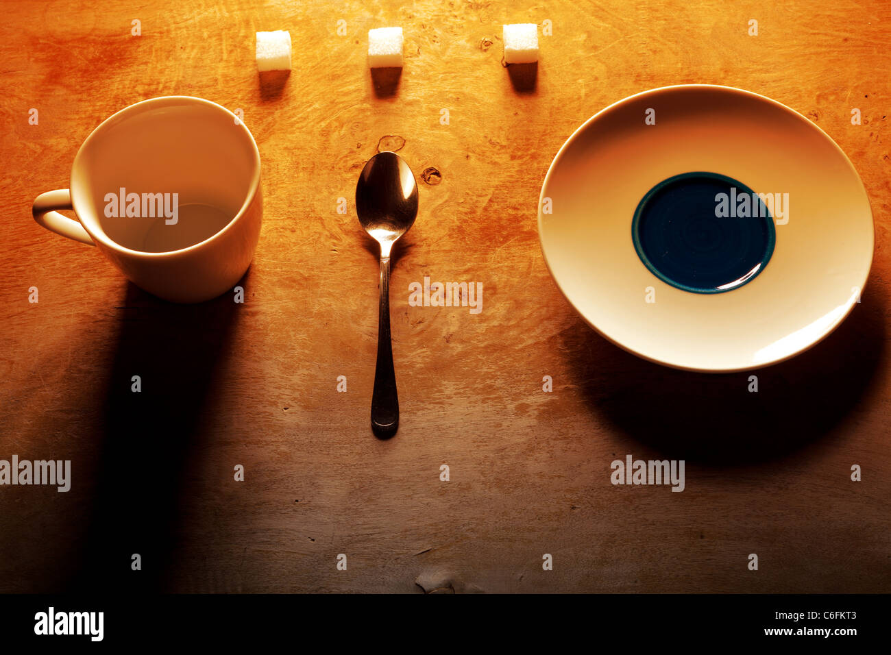 Arangement of divers things to drink coffee - Stock Image