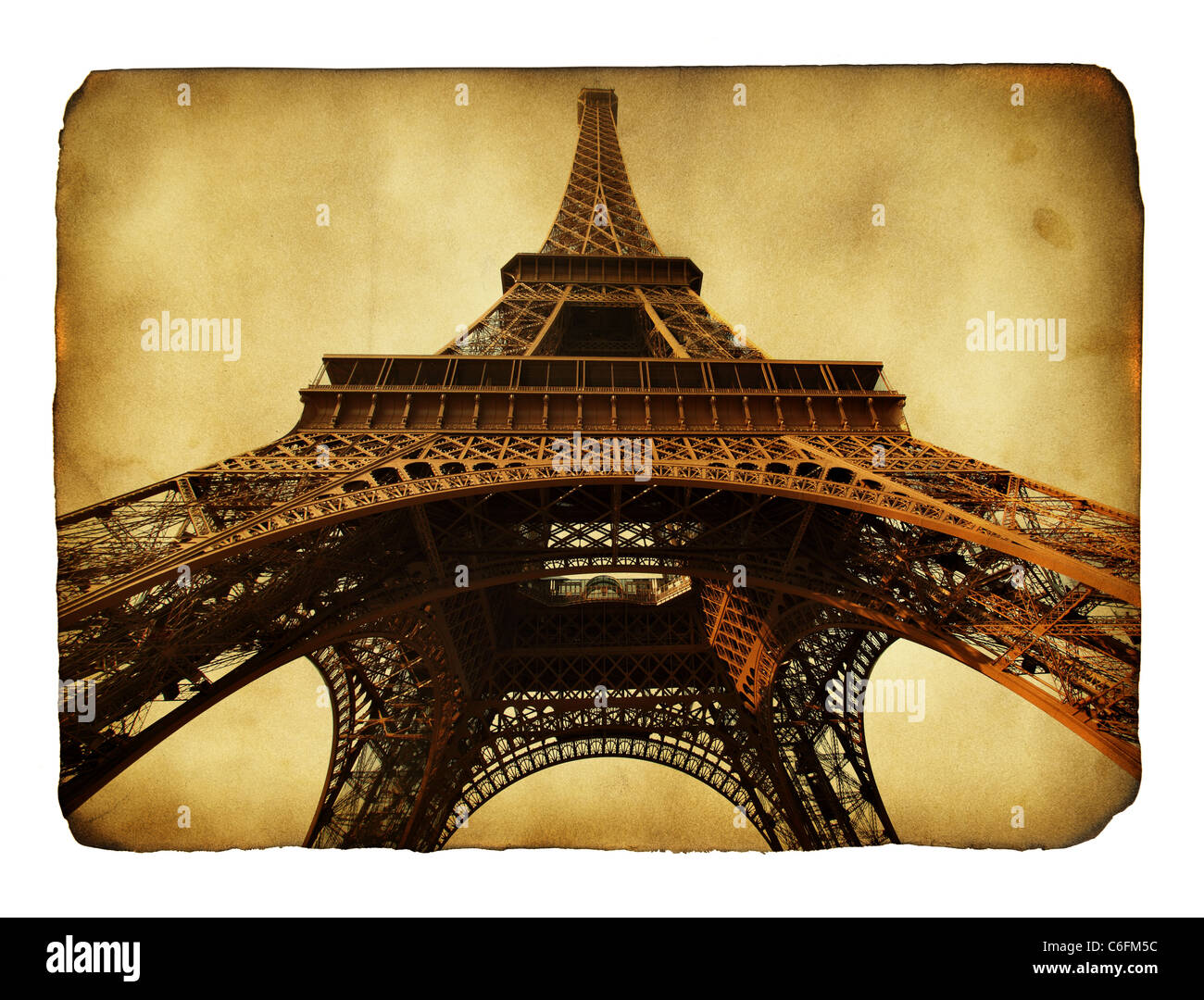 Imitation of vntage postcard with Eiffel tower Stock Photo
