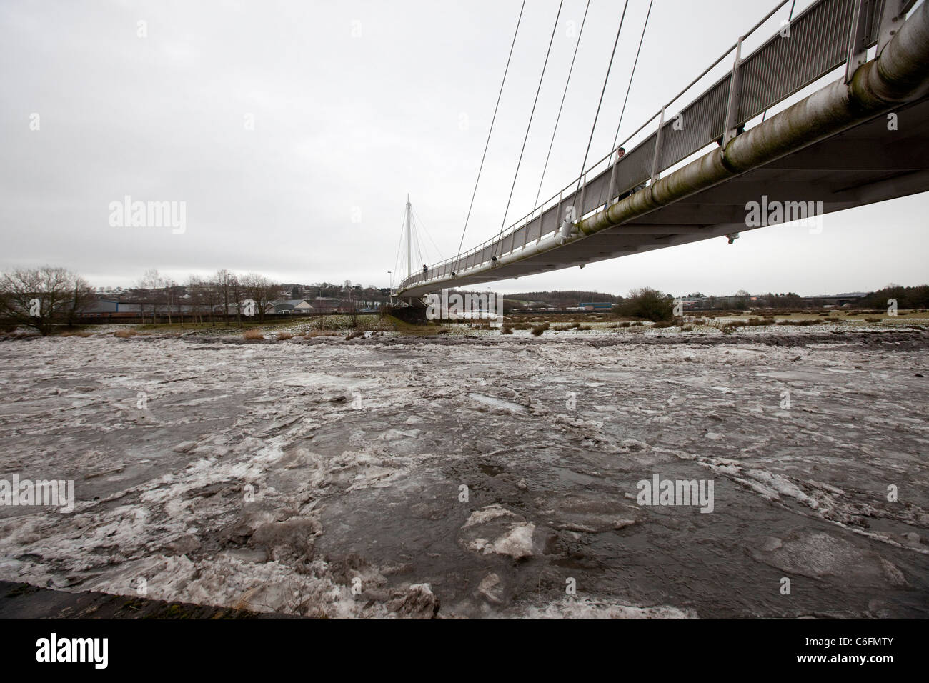 The River Towy which has frozen solid for the first time in sixty years. - Stock Image