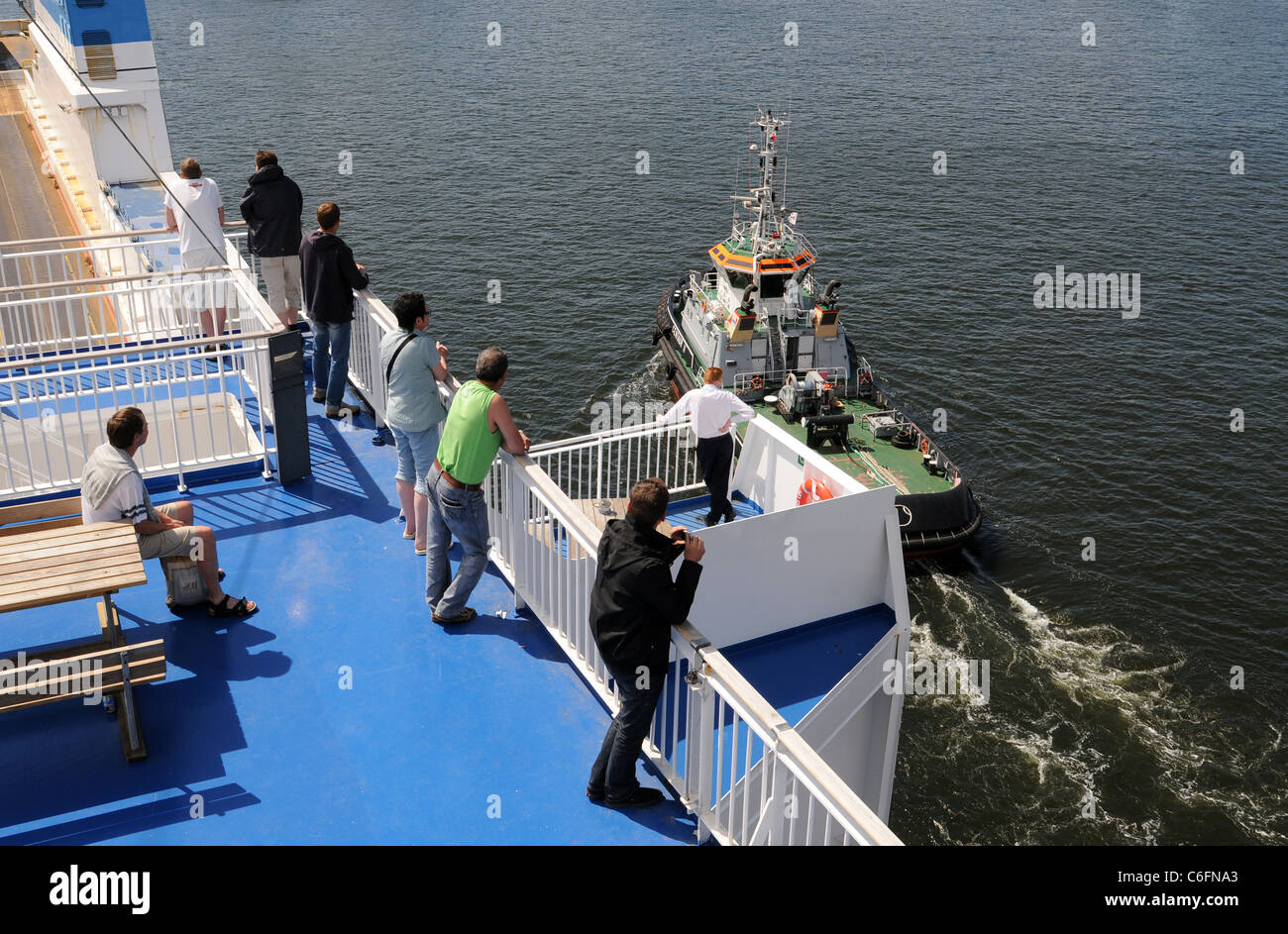 Promenade deck of the Finnmaid of Finnlines - Stock Image