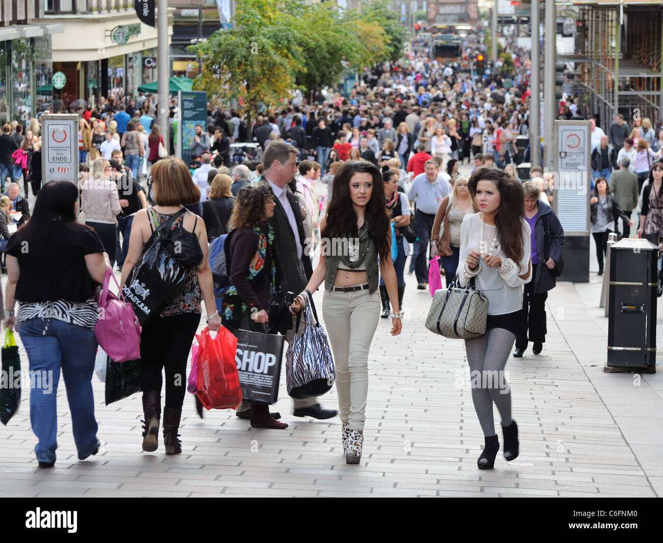 Busy street in Glasgow city centre Scotland. People shopping. Stock Photo