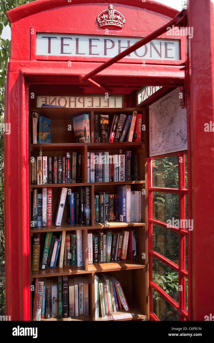 Telephone Box Book Exchange Library Great Hinton Wiltshire Stock Photo