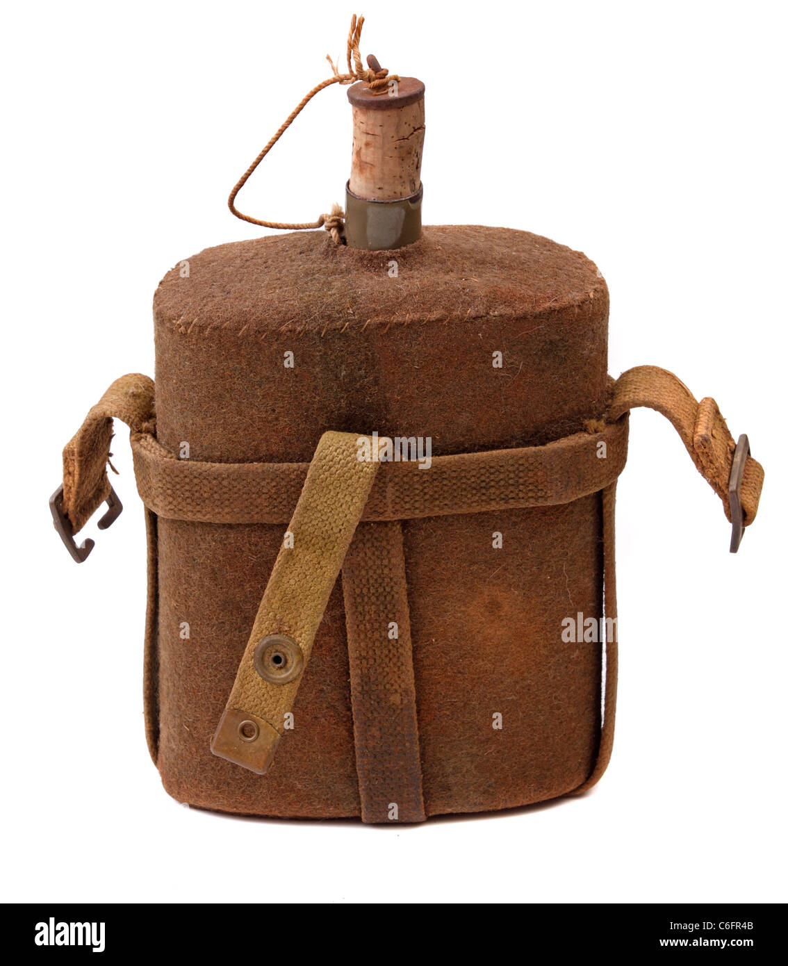 Vintage military canteen isolated on white background. - Stock Image