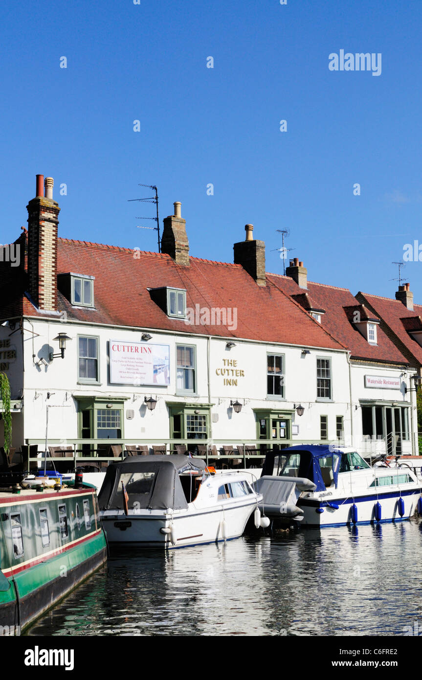 The Cutter Inn and River Great Ouse, Ely, Cambridgeshire, England, UK - Stock Image