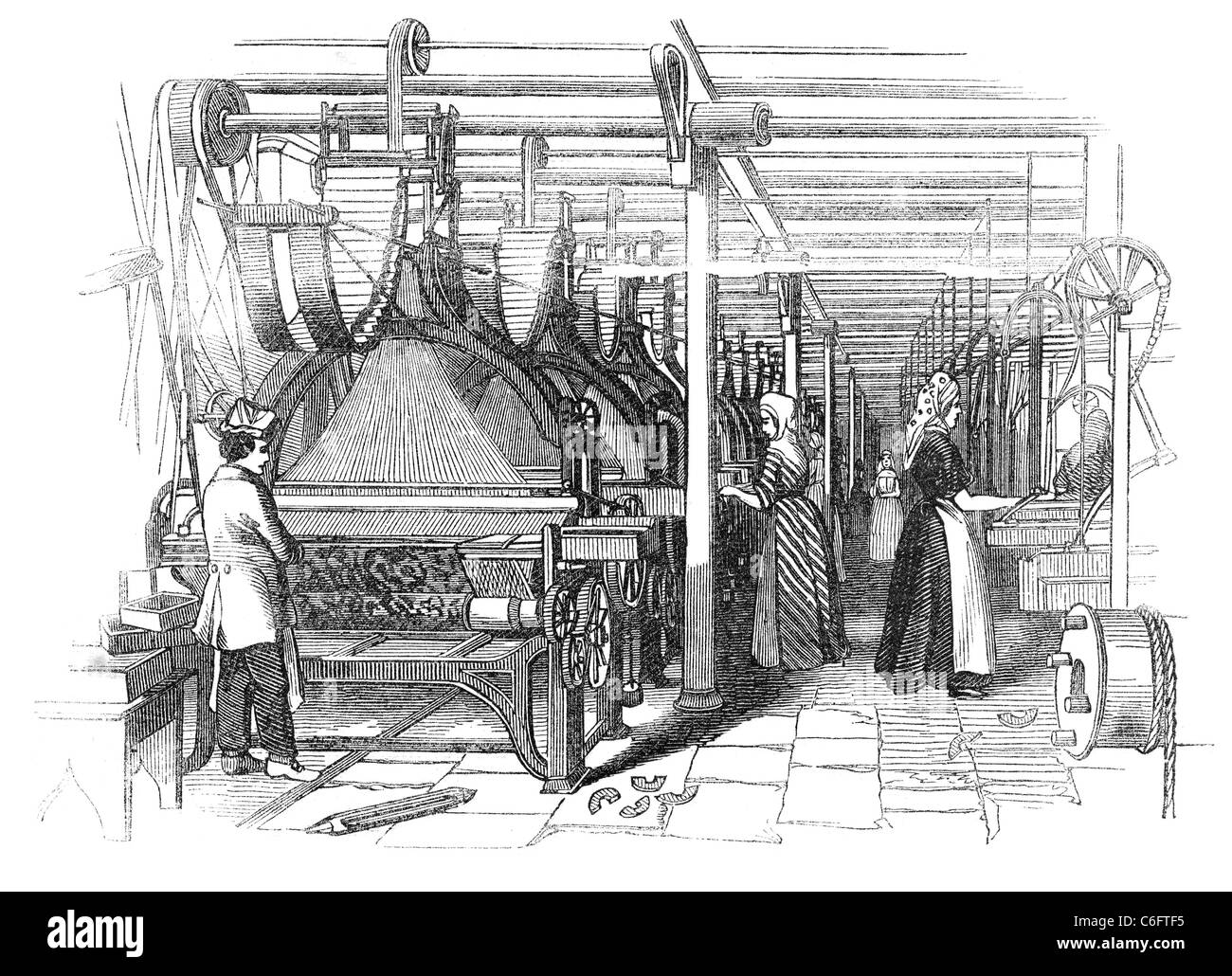 Day at the Yorkshire Worsted-Factories: Jacouard Weaving Shed - Stock Image