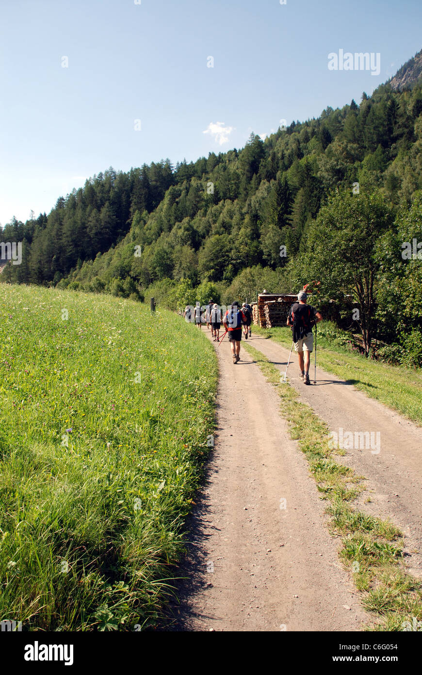 walkers follow a good path along a tree lined valley in the French Alps close to Mont Blanc - Stock Image