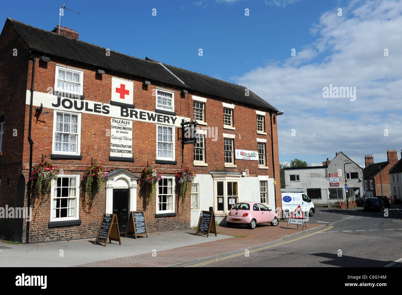 Joule's Brewery and Red Lion pub Market Drayton Shropshire - Stock Image