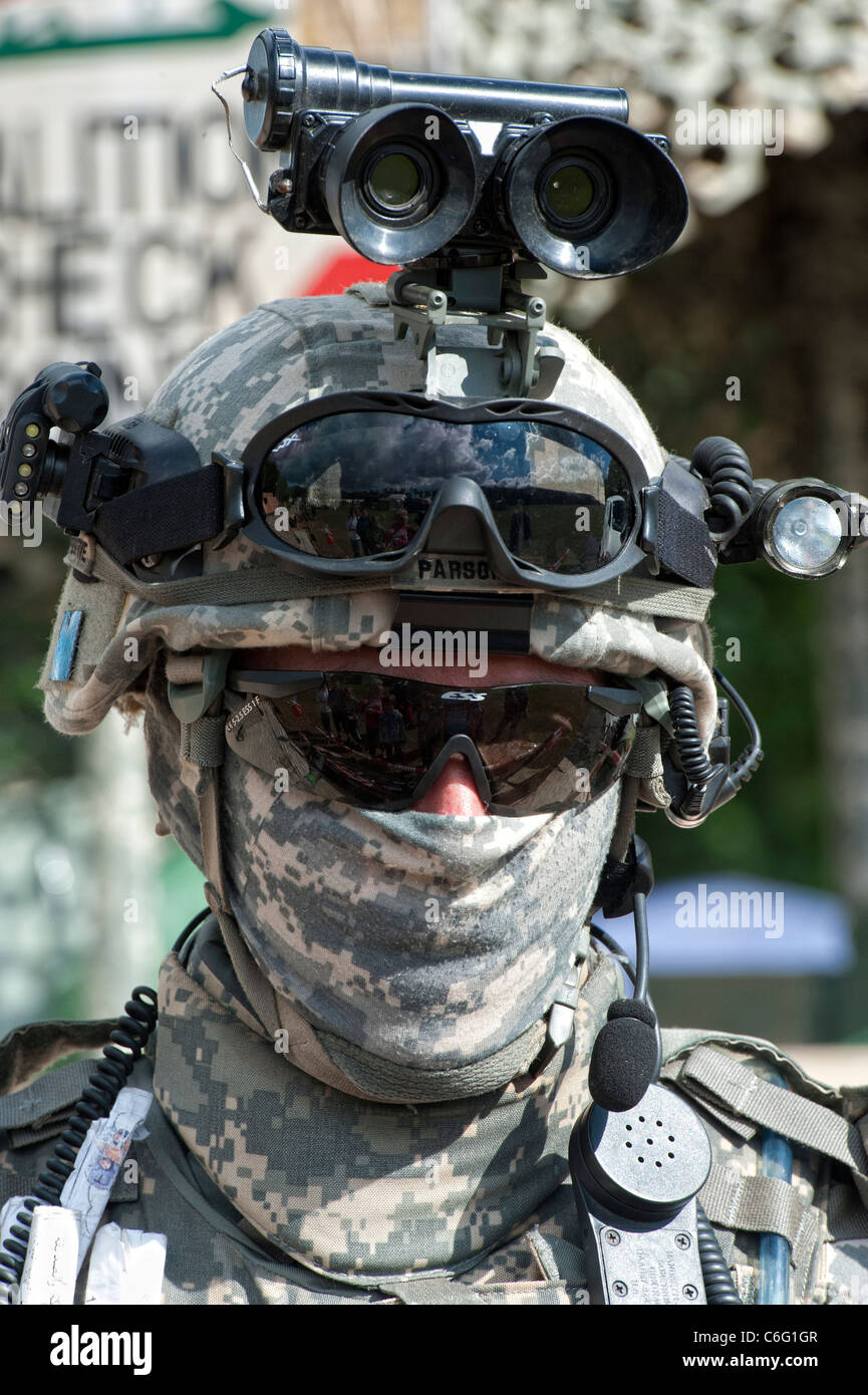 Modern American soldier in battle dress at Military Re enactment Stock Photo
