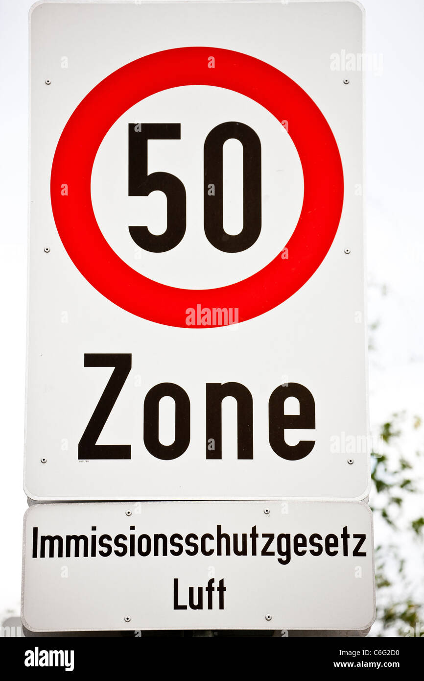 Low emission zone entry and speed limit sign. - Stock Image