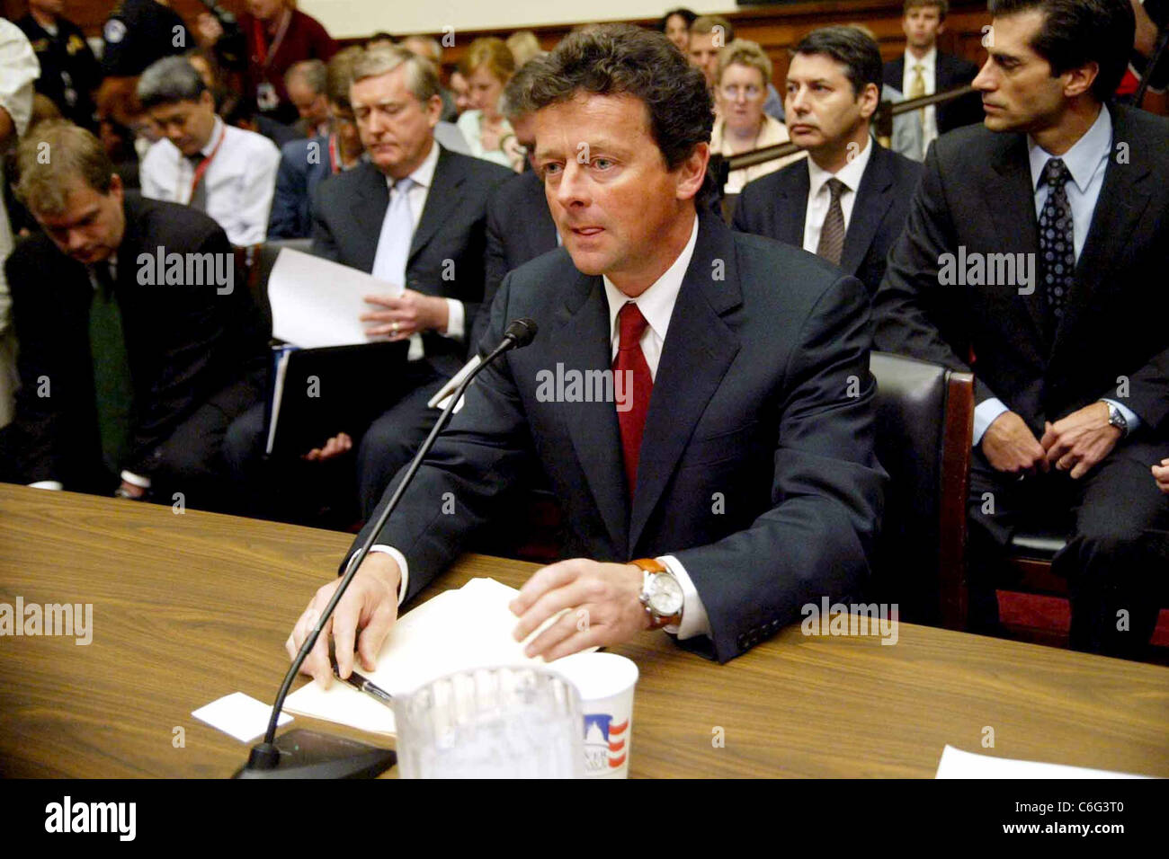 Tony Hayward, CEO of BP oil and energy company testifies at a House Energy and Commerce Committee hearing on the - Stock Image