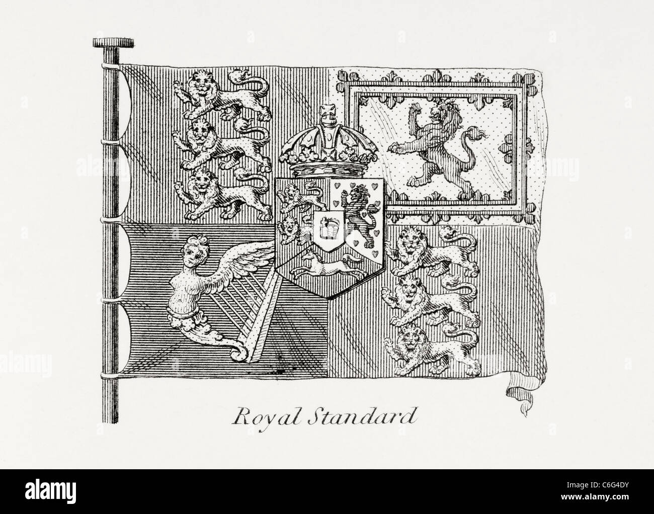The English Royal Standard. Early 19th century. - Stock Image