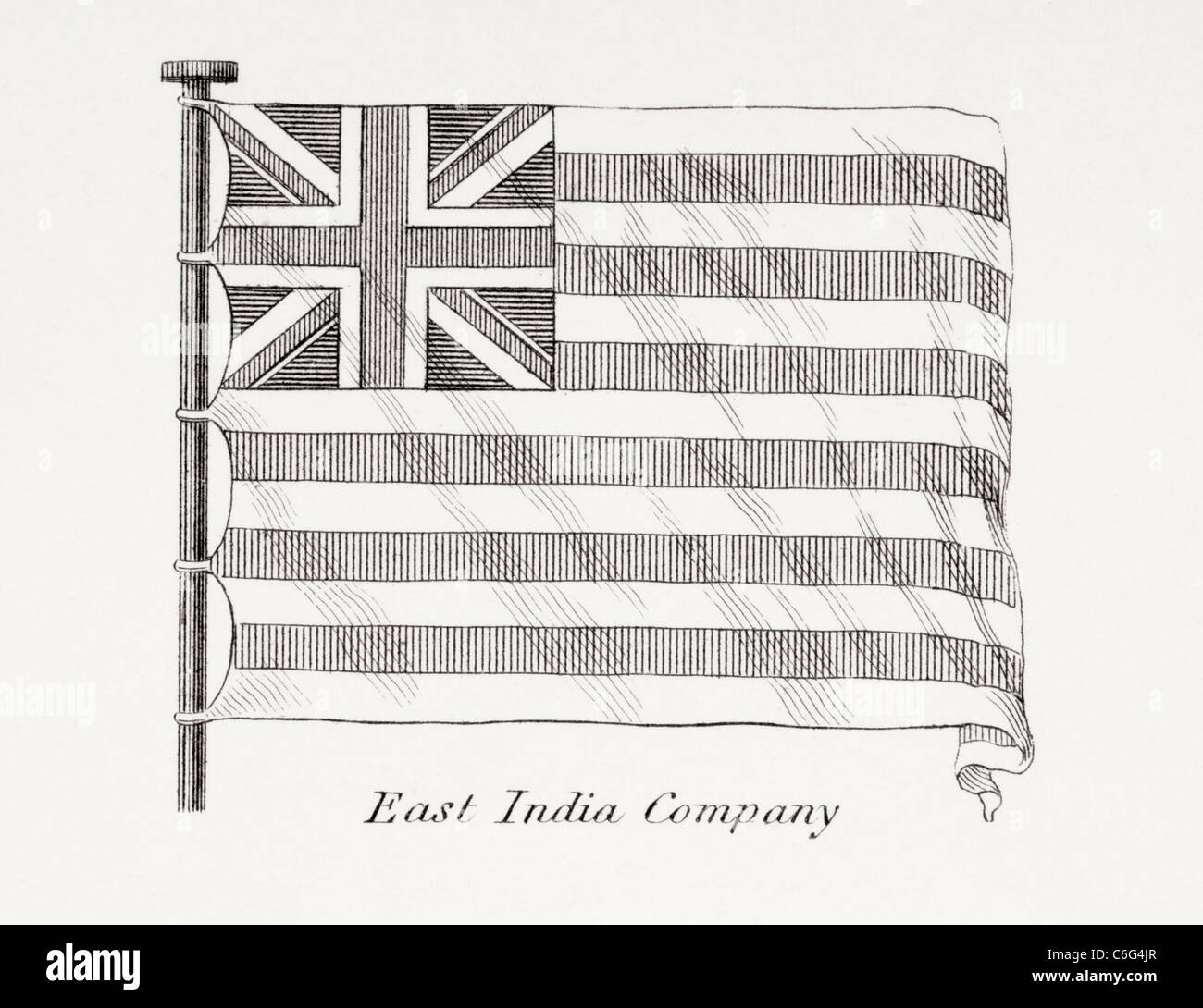 The East India Company flag. Early 19th century. - Stock Image