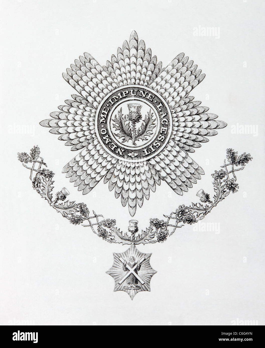 Star, Collar and Badge of the Order of the Thistle. - Stock Image