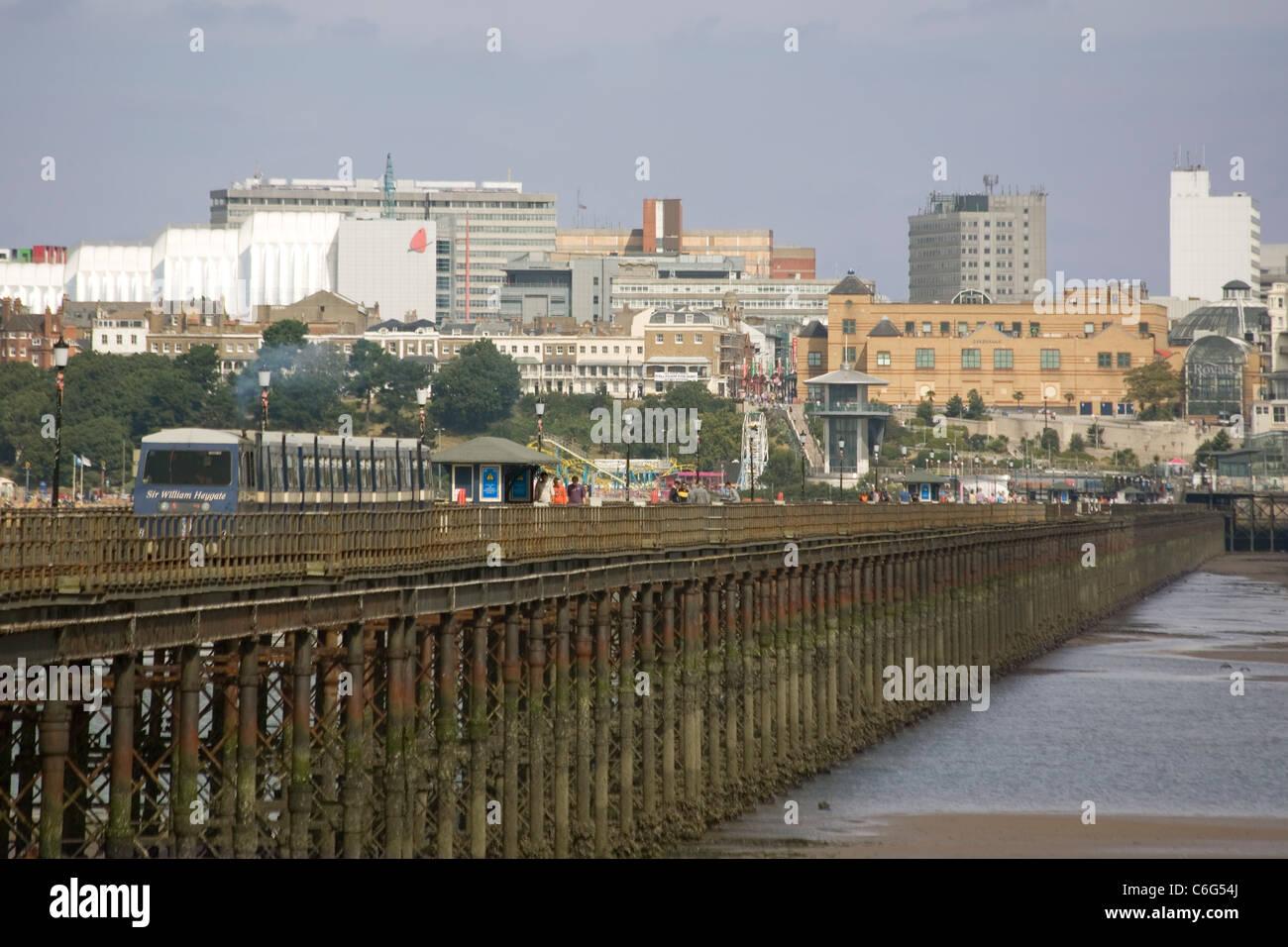 England Essex Southend train on pier - Stock Image