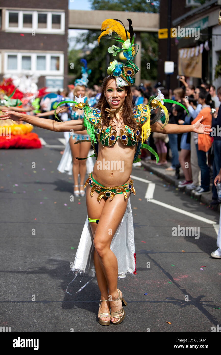 Samba school dancer at The Notting Hill carnival 2011, London, England, UK, GB - Stock Image