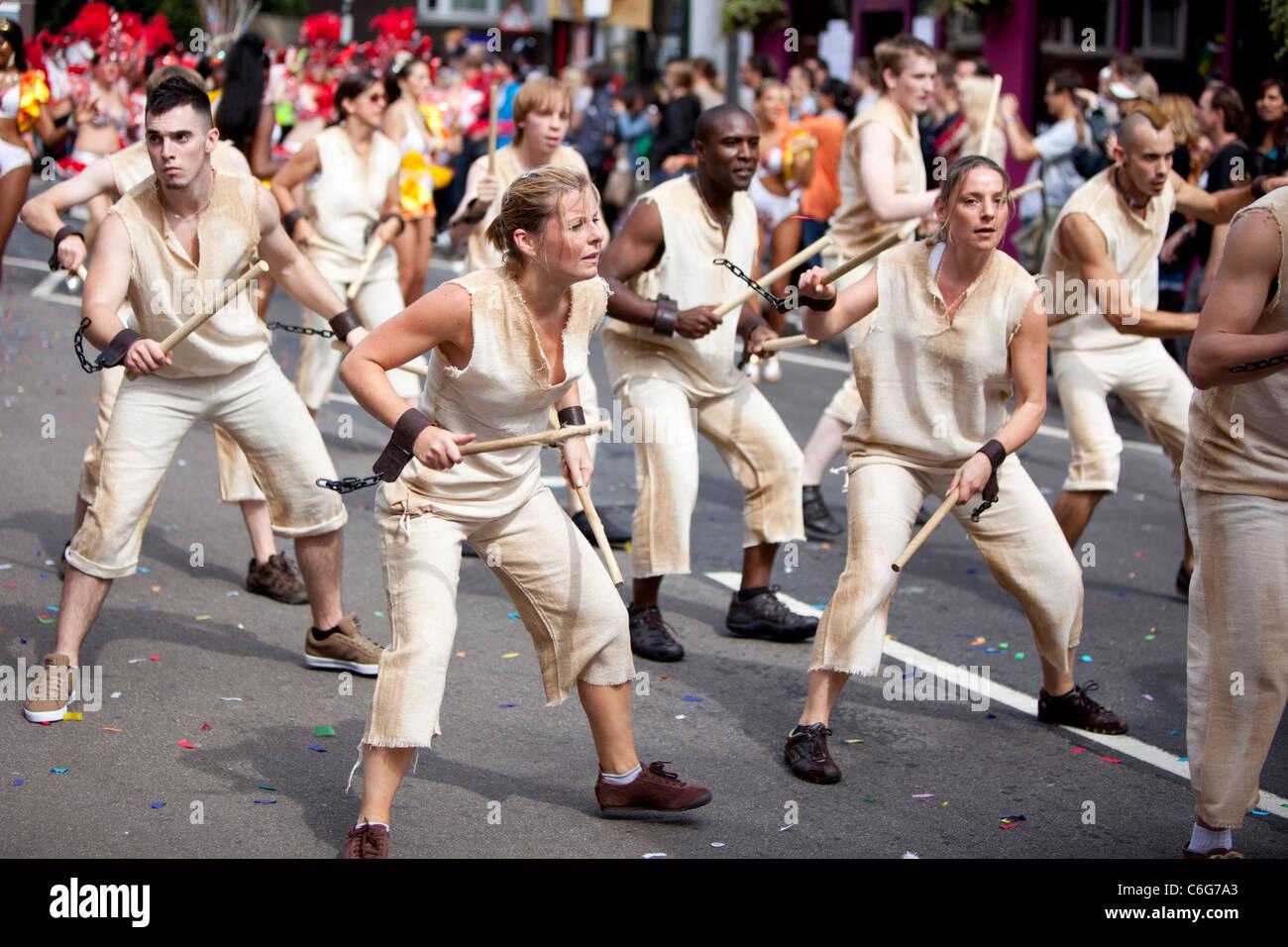Samba school dancers at The Notting HIll Carnival 2011, London, England, UK, GB. - Stock Image