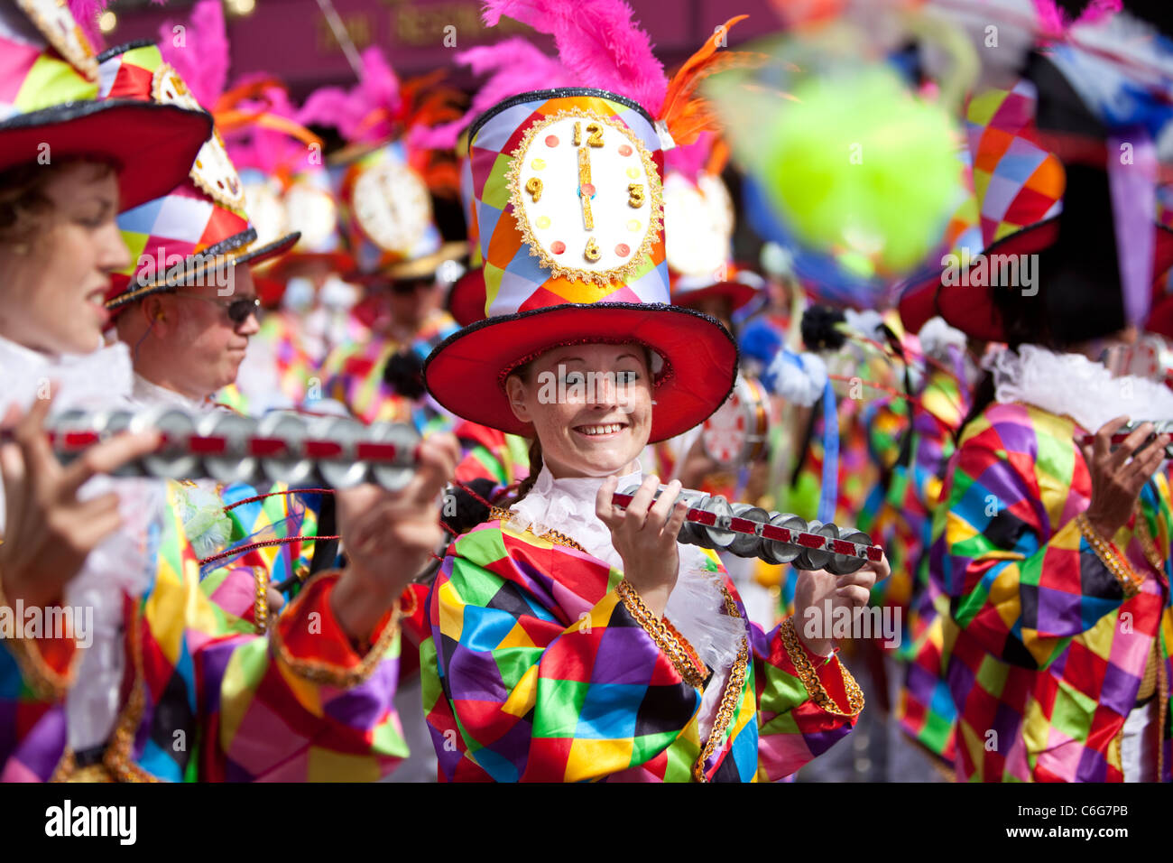 Samba school musicians in costumes, at The Notting Hill Carnival 2011, London, England, UK. - Stock Image