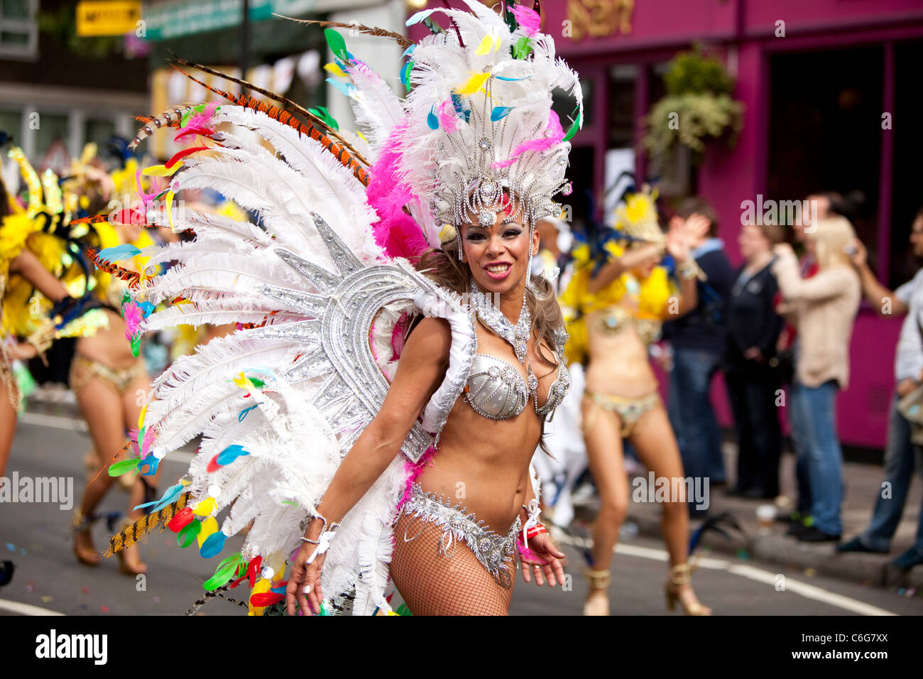 Samba school dancer at The Notting Hill Carnival 2011, London, England, UK - Stock Image