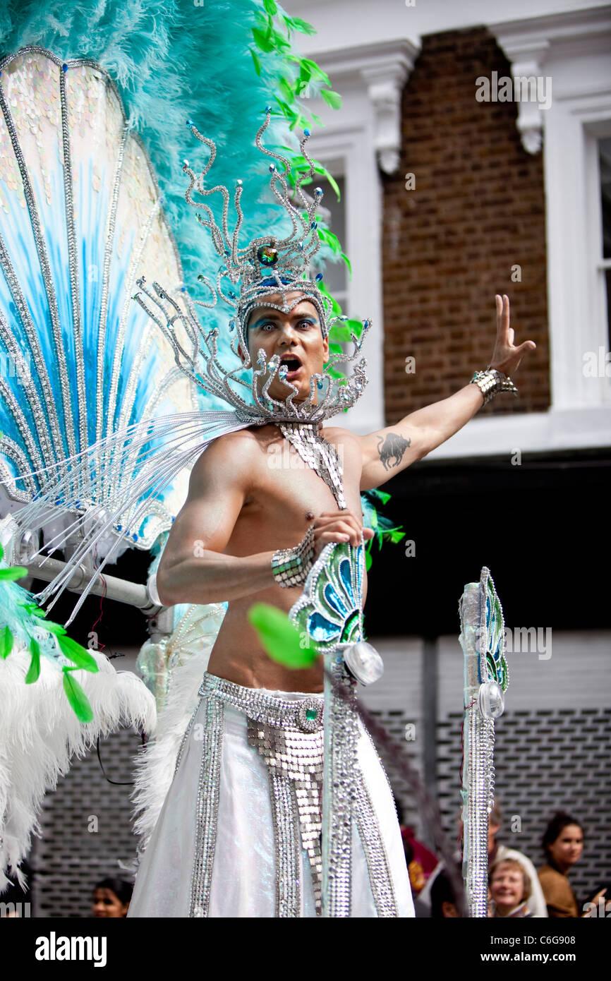 Samba school dancer at The Notting Hill Carnival 2011, London, England, UK, GB - Stock Image