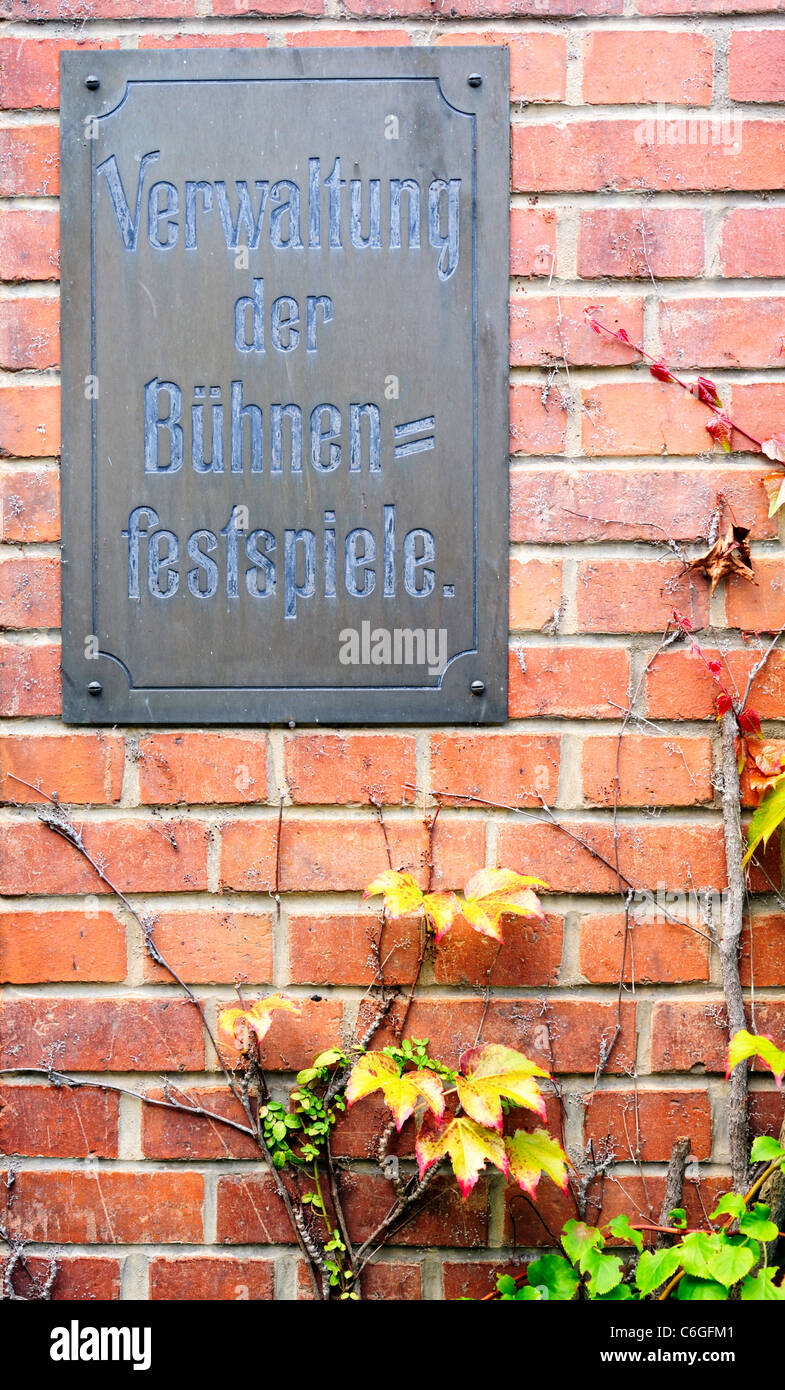 Sign for administration office of the Bayreuth Festival, Bayreuth, Bavaria, Germany - Stock Image