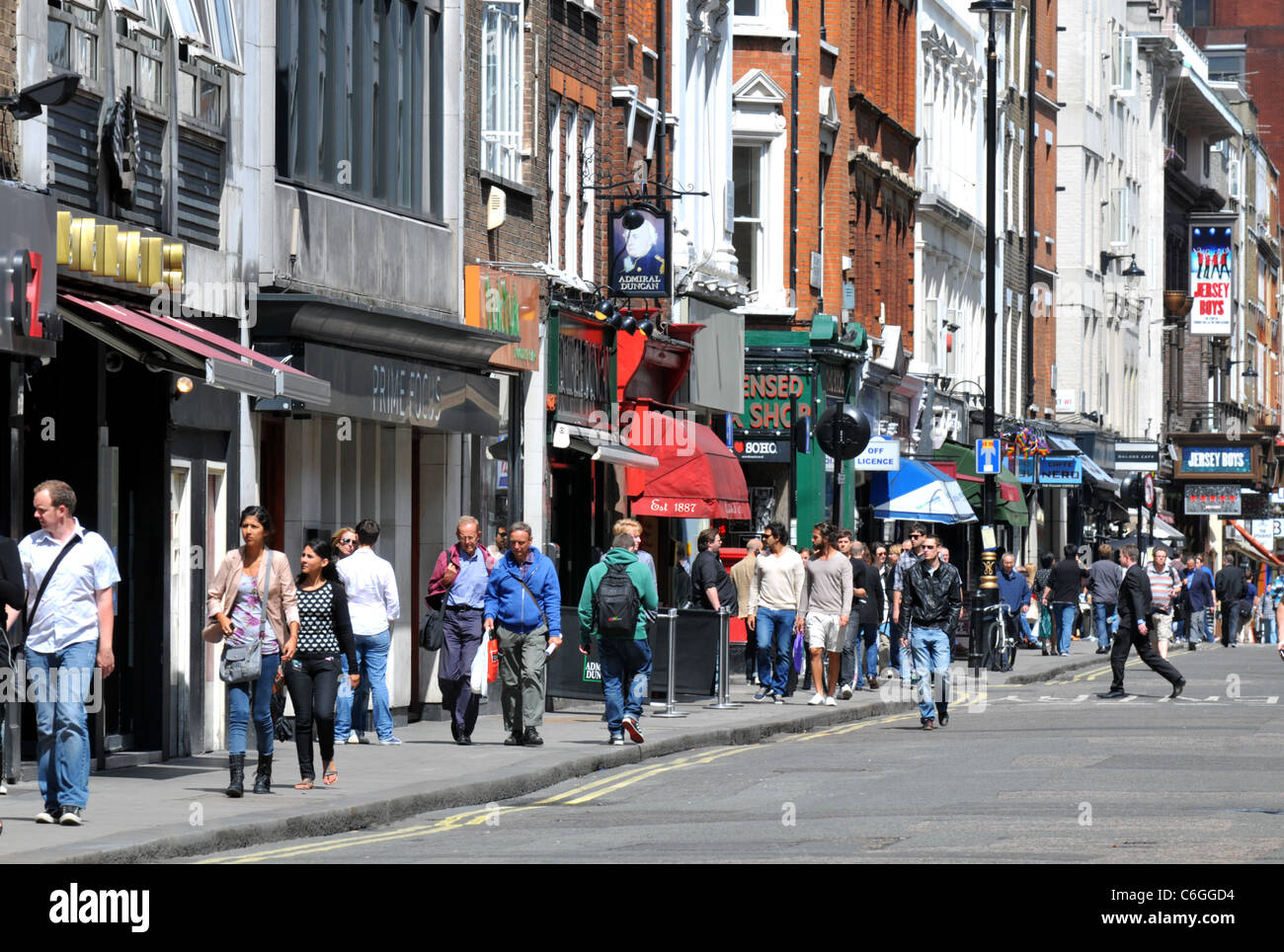 Old Compton Street, Soho, London, Britain, UK - Stock Image