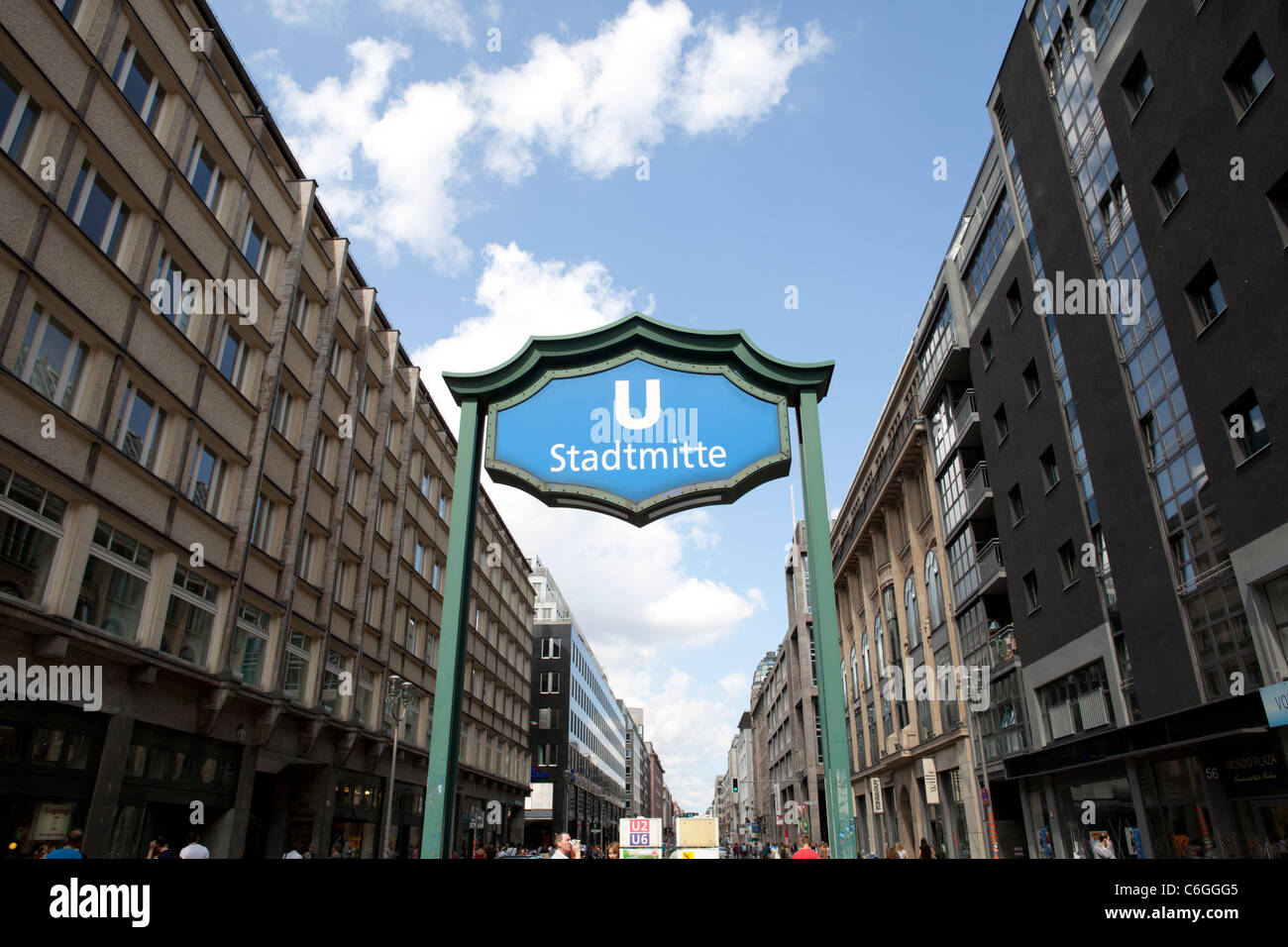 STADTMITTE UNDERGROUND STATION IN THE MITTE DISTRICT IN BERLIN, GERMANY - Stock Image