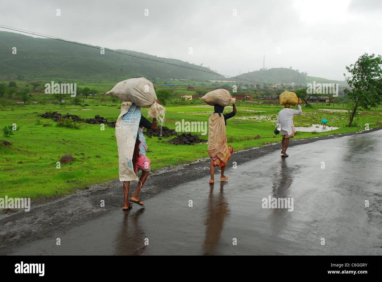 farmer carrying sacks - Stock Image