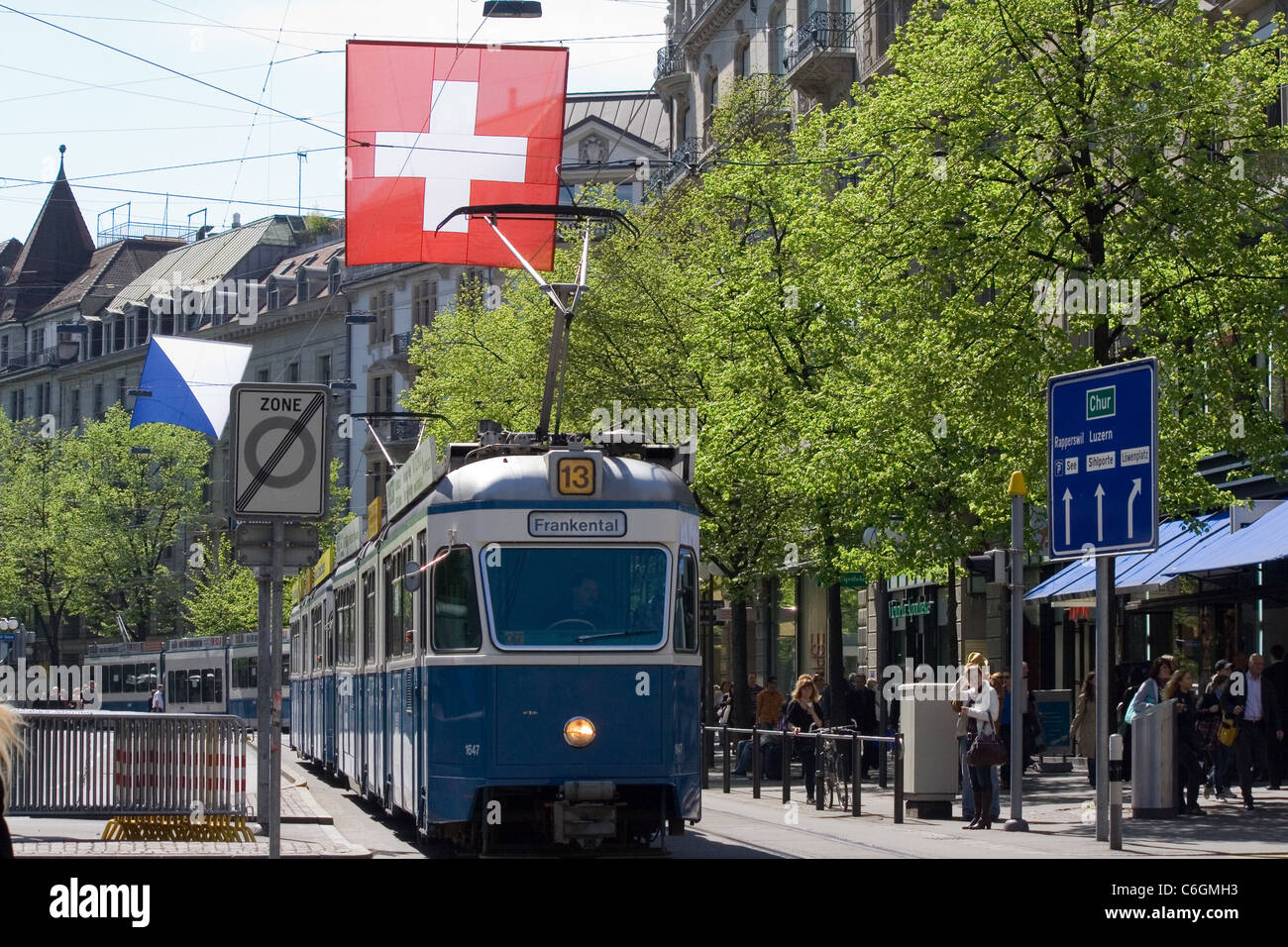 view of Bahnhofstrasse, Zurich, Switzerland - Stock Image