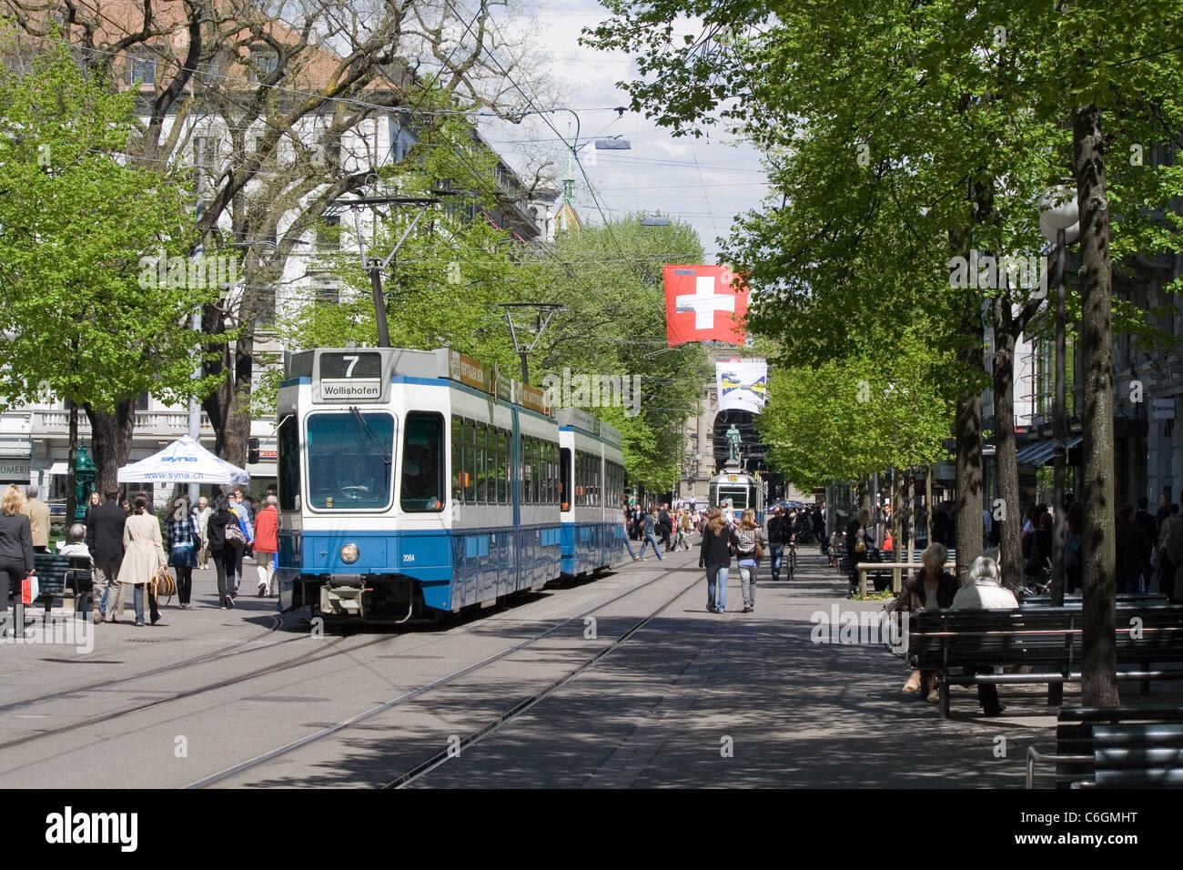 view of Bahnhofstrasse, Zurich, Switzerland - Stock Image