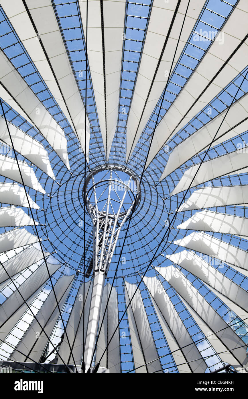 Metal, glass, and stretch fabric cupola at the new Sony Center forum in Potsdamer Platz, Berlin, Germany - Stock Image