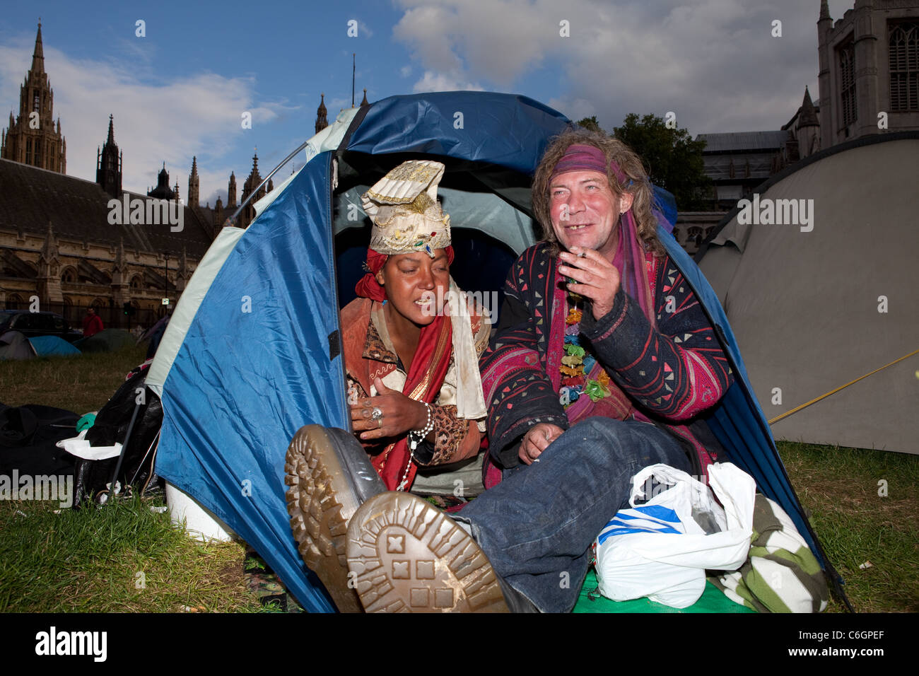 Homeless Democracy Village campers Tracy (L) and Tarquin (R) were living on the streets of Westminster before settling - Stock Image