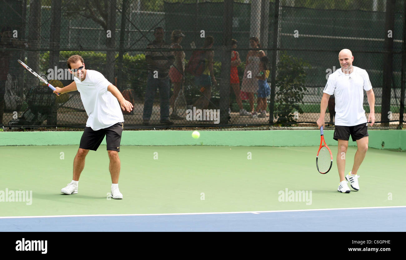 Retired US tennis champions Andre Agassi and Pete Sampras open a