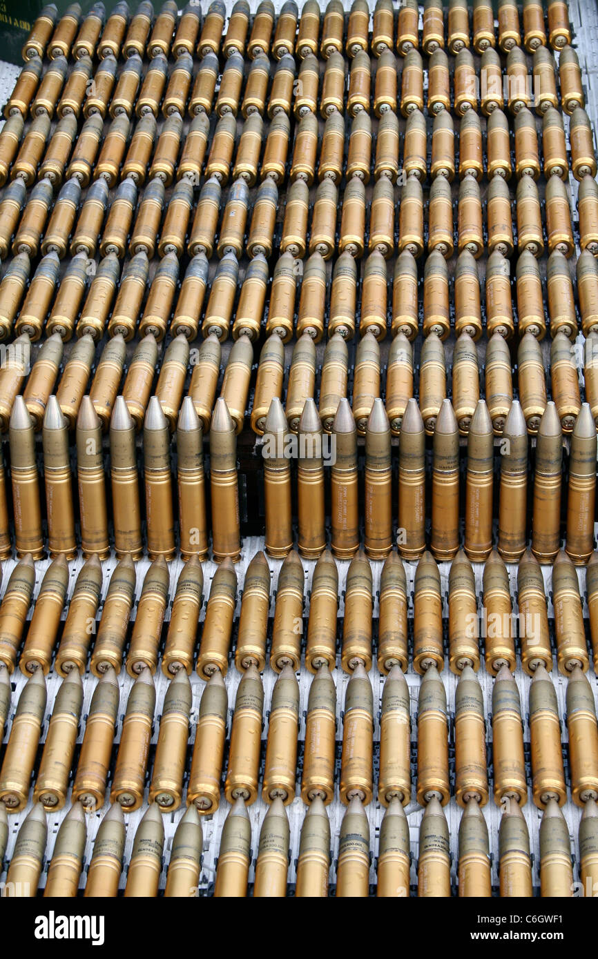 Close up of Rounds or Bullets of ammunition - Stock Image
