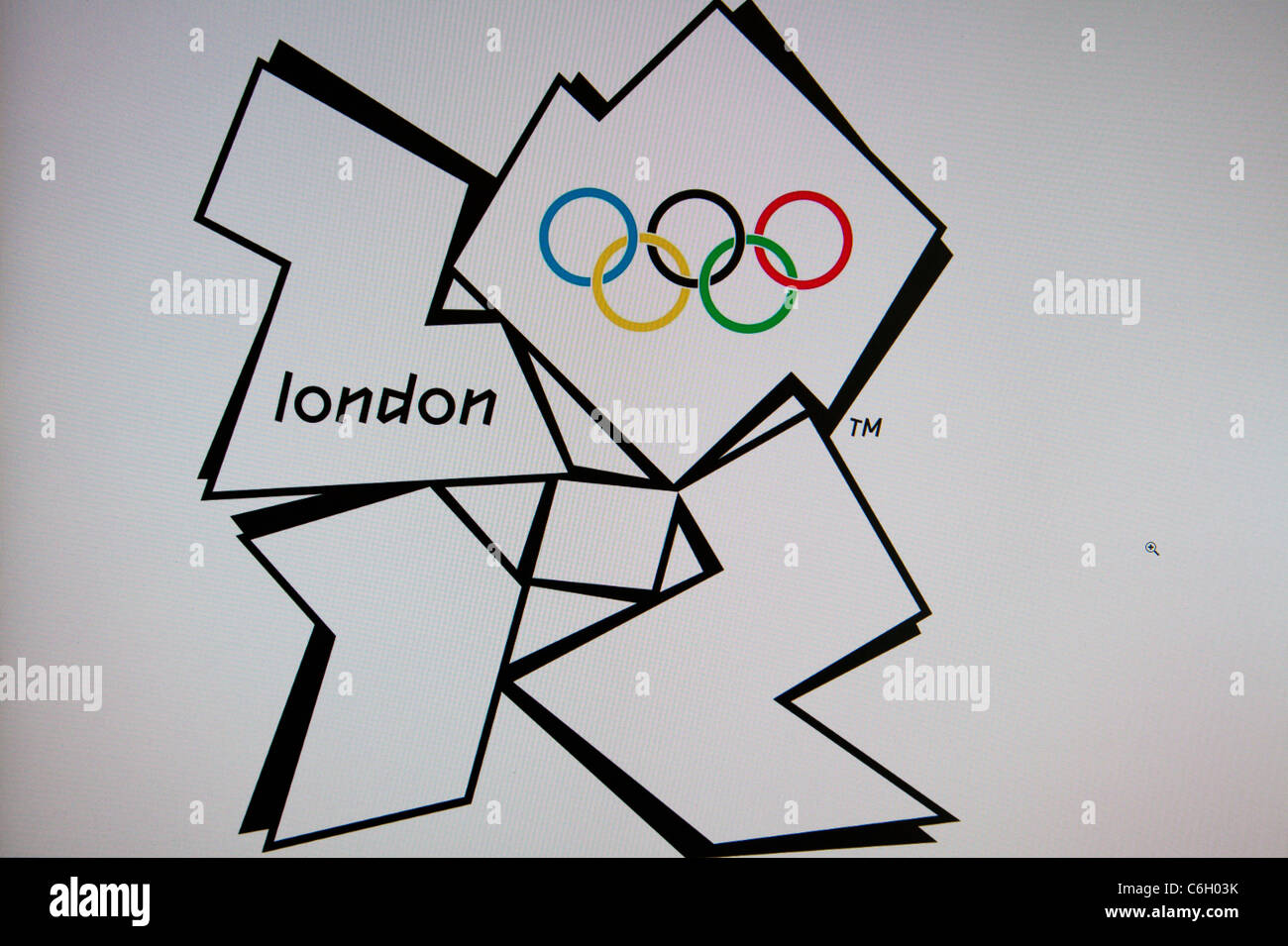 Internet land computer graphic of London Olympics symbol  logo The jagged emblem, based on the date 2012, comes - Stock Image