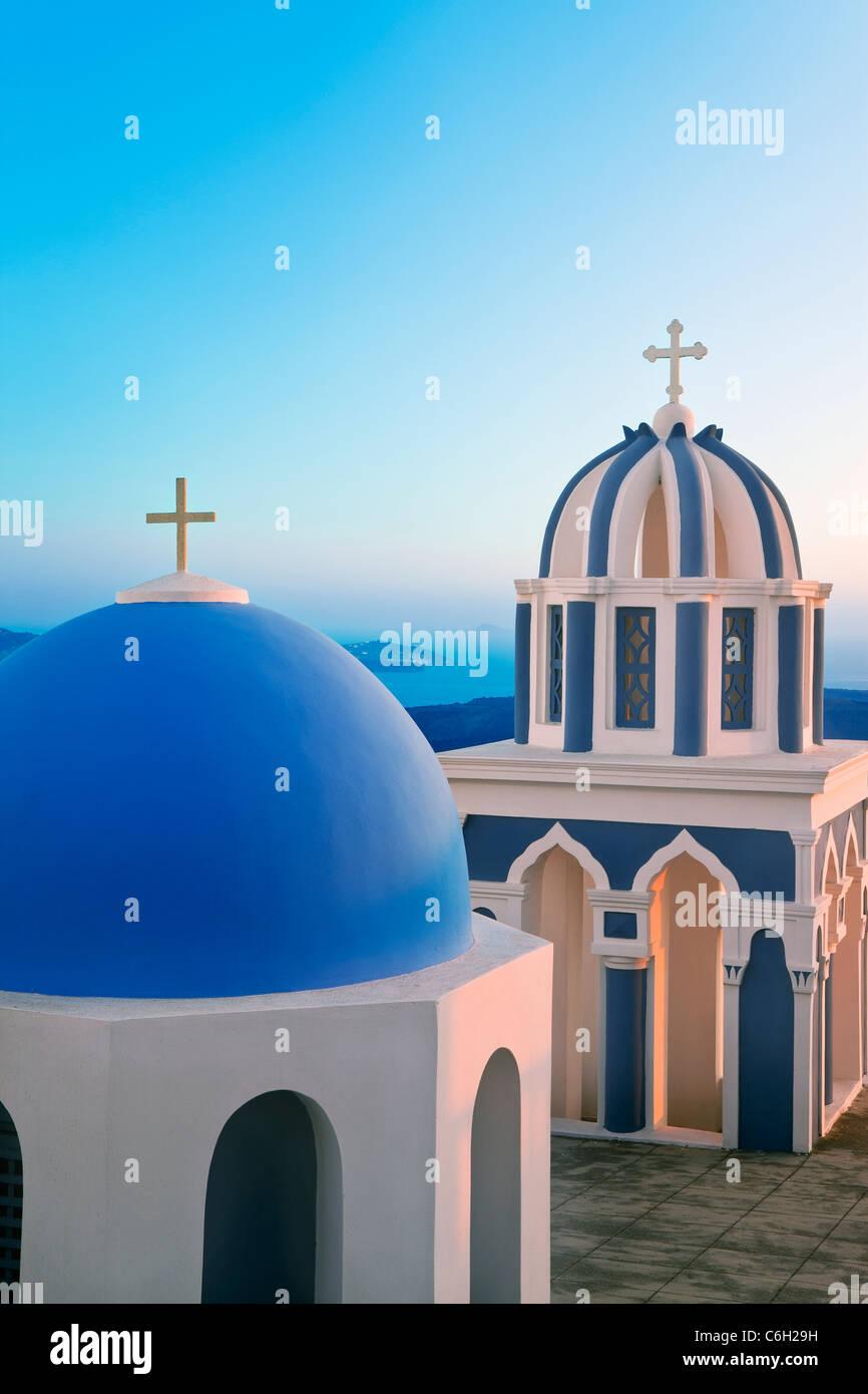 Bell Towers of Orthodox Church overlooking the Caldera in Fira, Santorini (Thira), Cyclades Islands, Aegean Sea, - Stock Image
