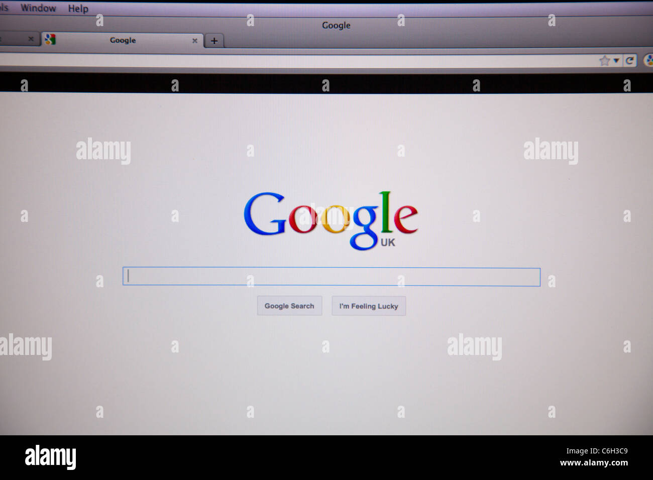 Internet land computer google search engine program for mac or pc logo start page - Stock Image