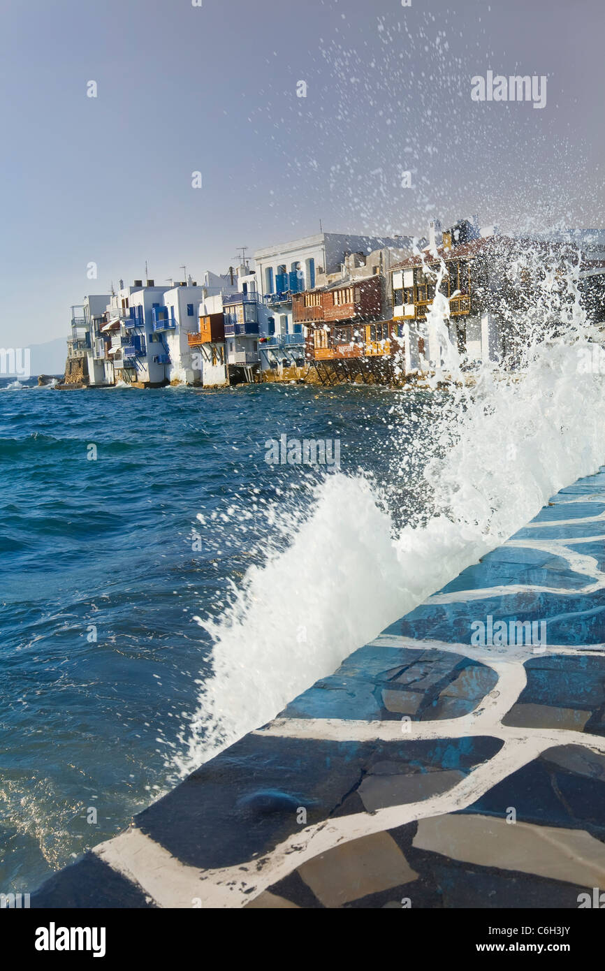 Little Venice waterfront, Mykonos (Hora), Cyclades Islands, Greece, Europe - Stock Image