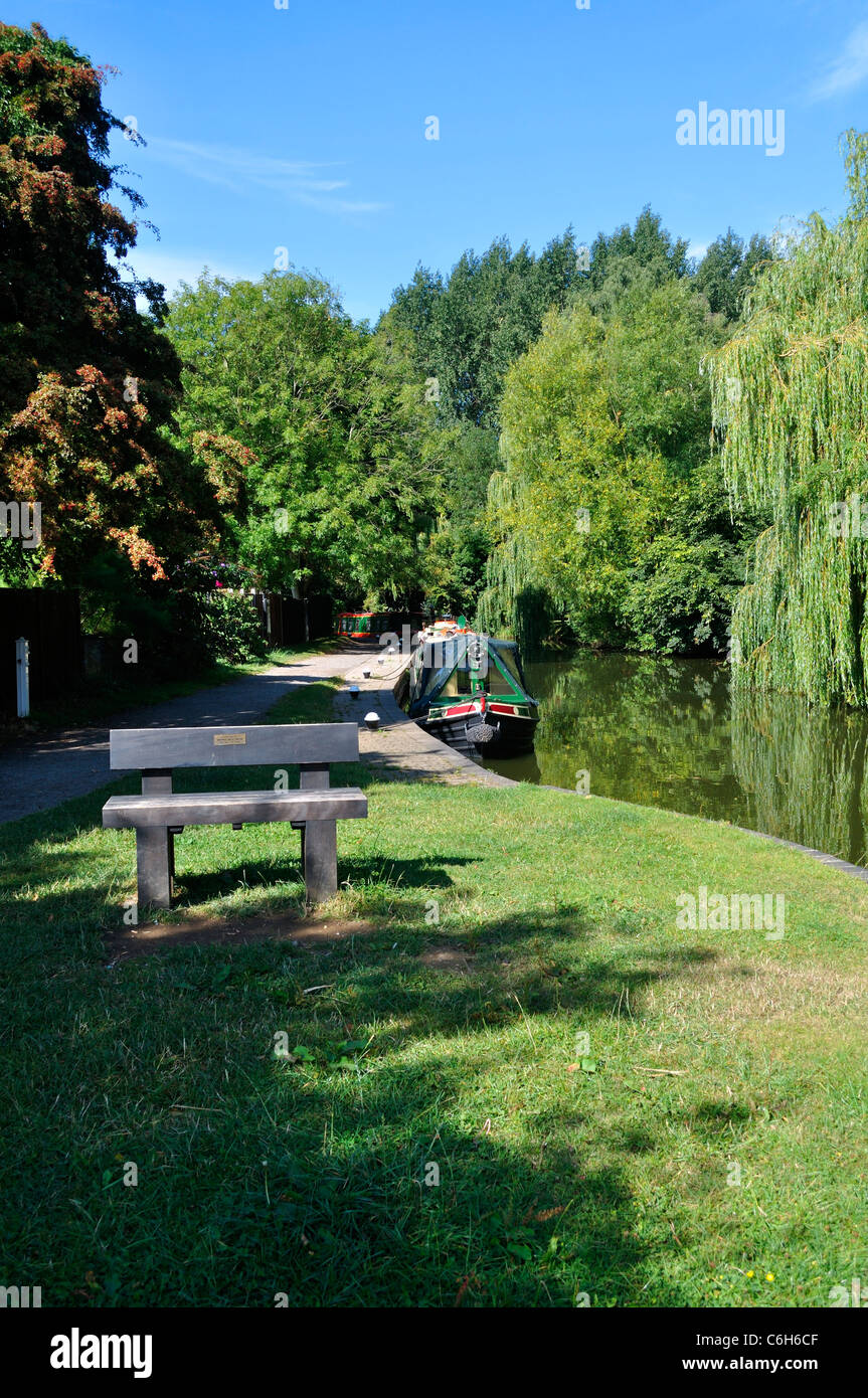 The canal towpath at Union Wharf in Market Harborough - Stock Image