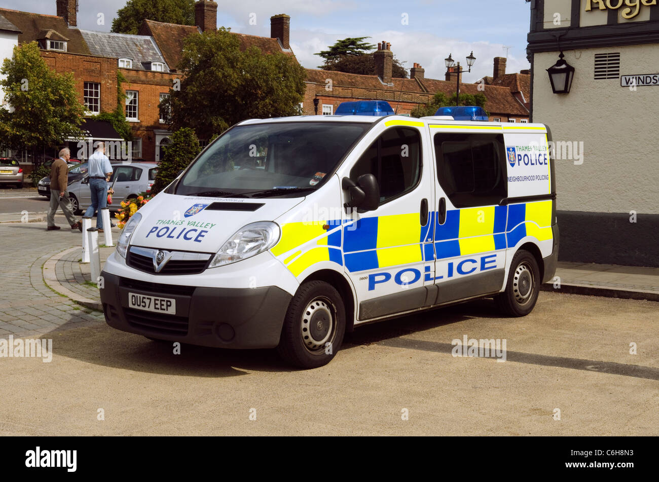 A Thames Valley Police van parked at old town Beaconsfield UK - Stock Image