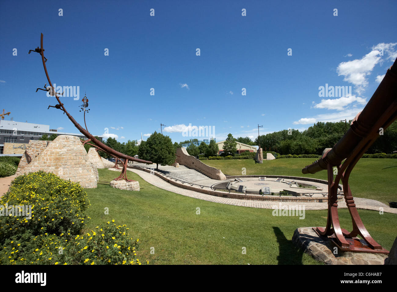 the oodena in the forks Winnipeg Manitoba Canada - Stock Image
