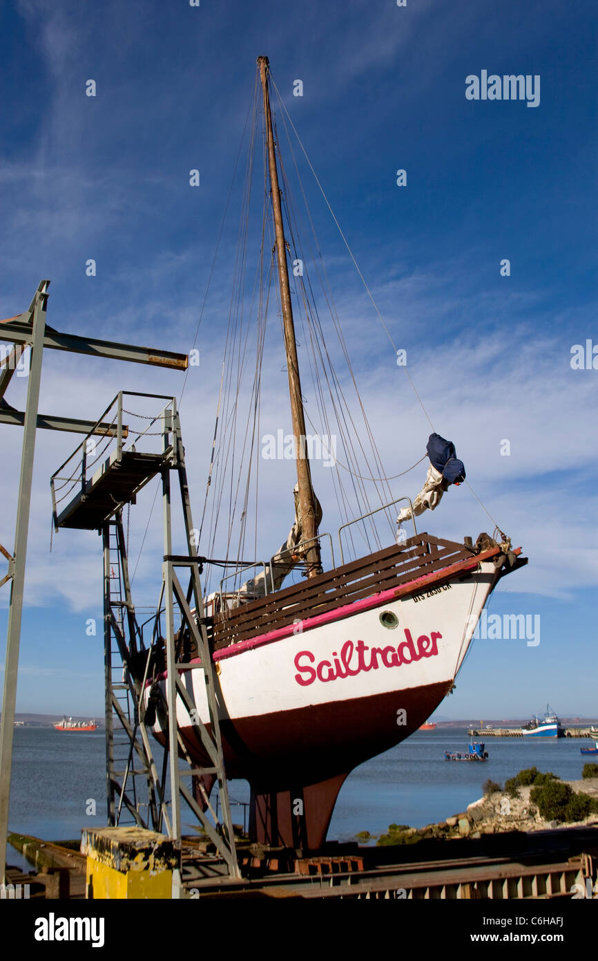 A boat being repaired in the Saldhana Bay dry docks - Stock Image