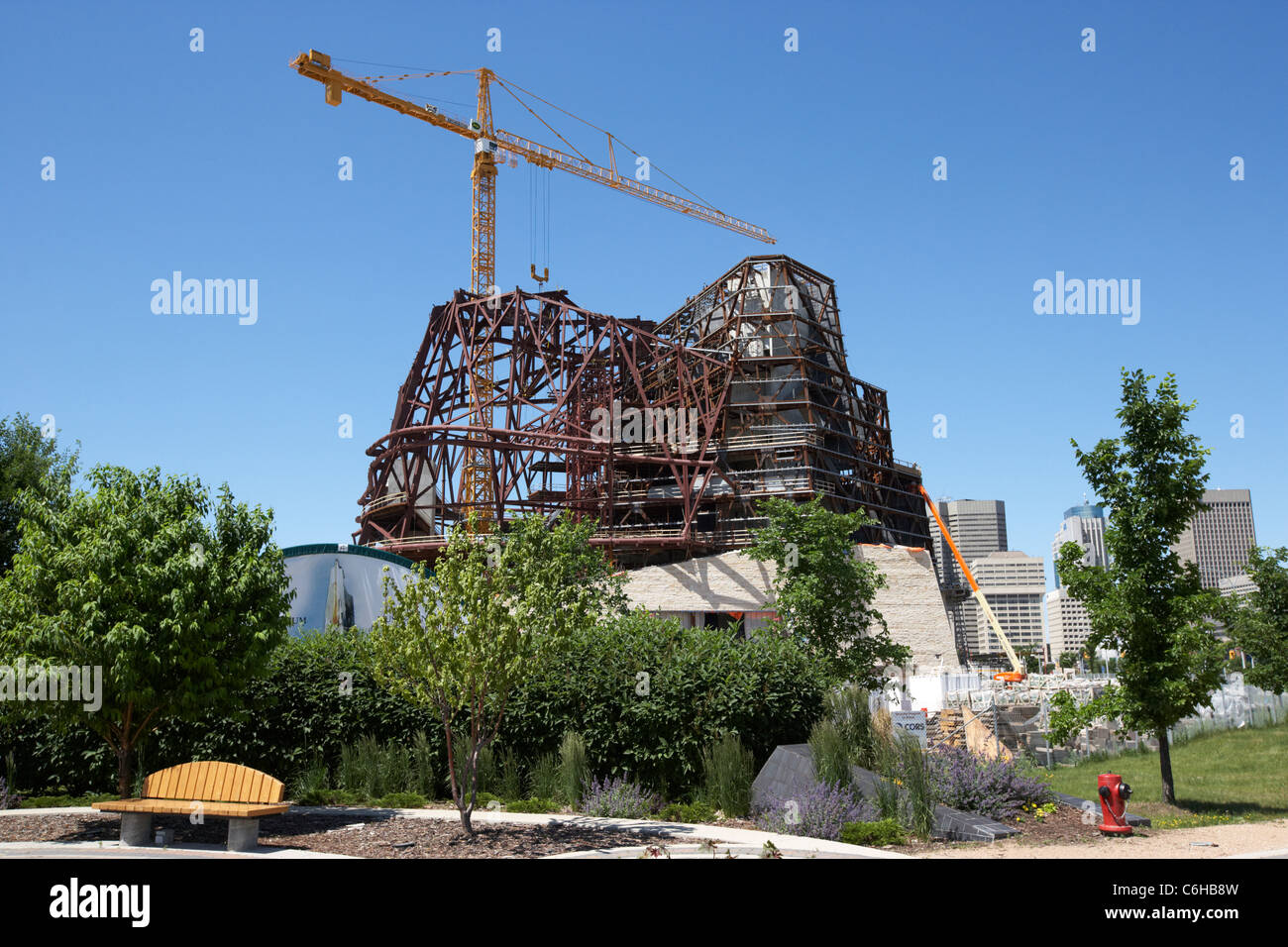 construction underway at the new canadian museum for human rights at the forks Winnipeg Manitoba Canada - Stock Image