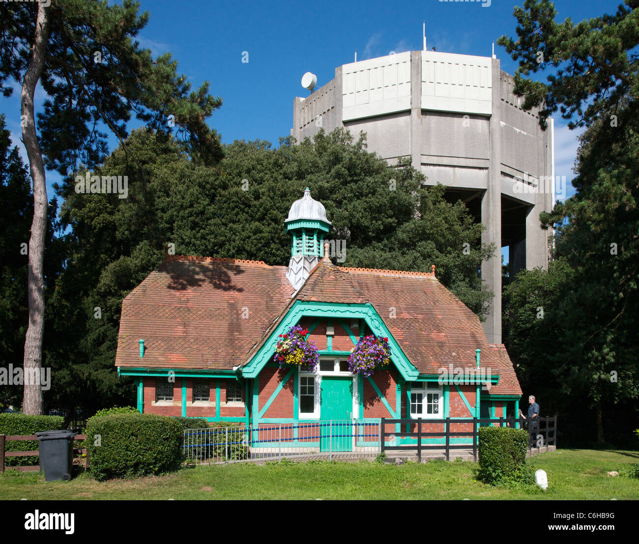 Water tower and Victoria Hughes memorial public conveniences on Clifton Downs in Bristol - Stock Image