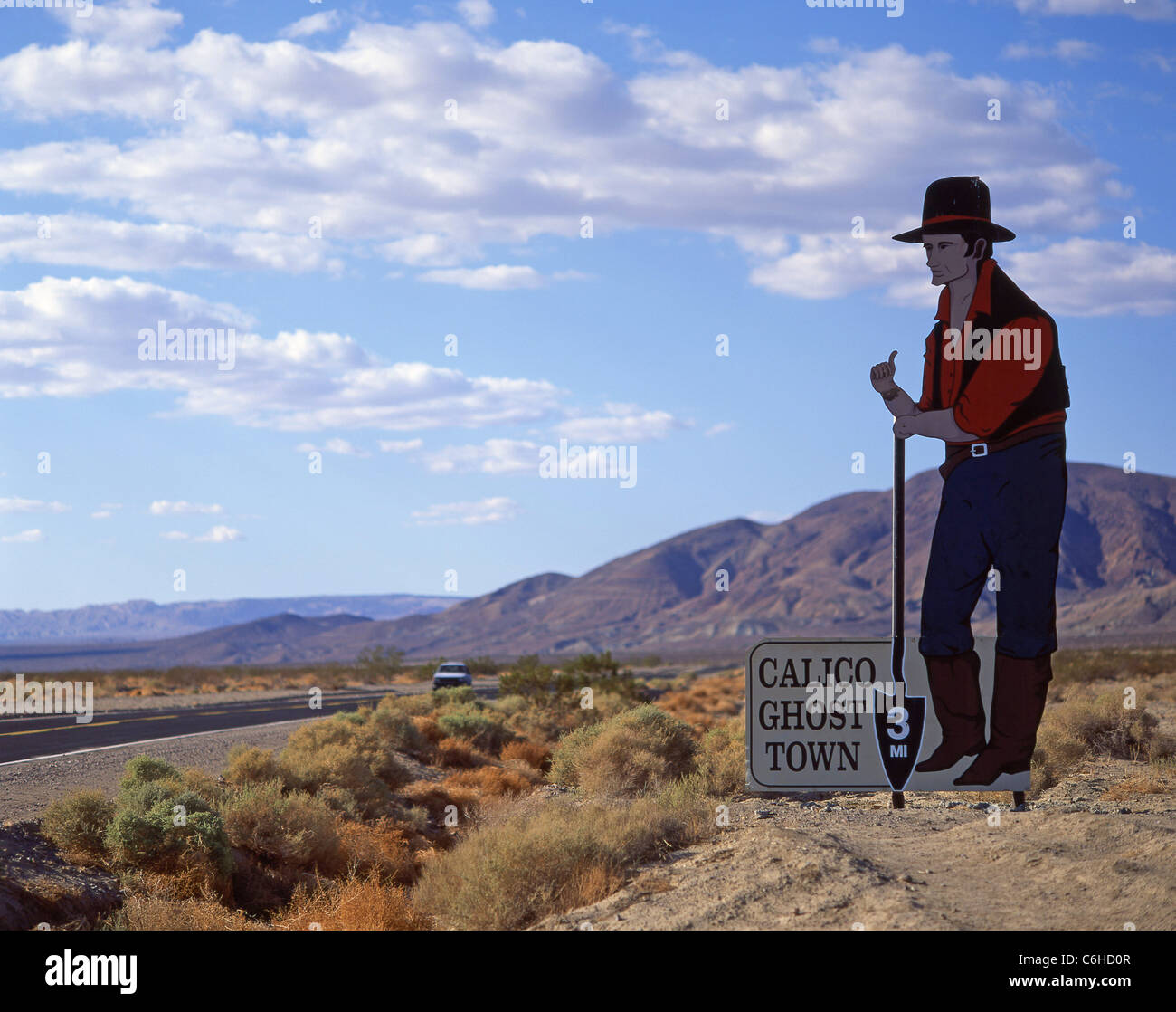 Entrance sign for Calico Ghost Mining Town, Barstow, San Bernardino County, California, United States of America - Stock Image