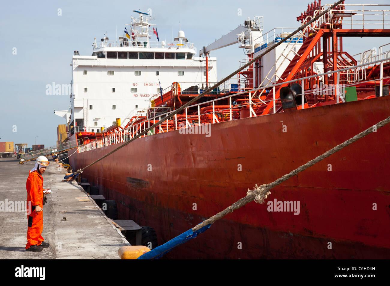 Ethanol tanker ship 'Bright World' at port in San Salvador, El Salvador - Stock Image