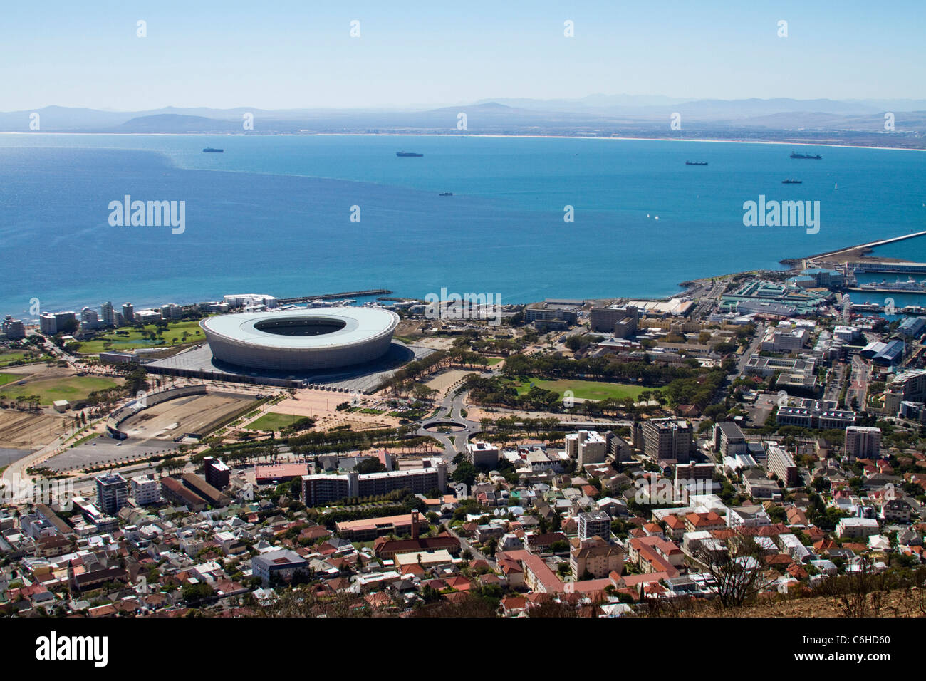 Greenpoint stadium and the view across towards Blouberg strand - Stock Image