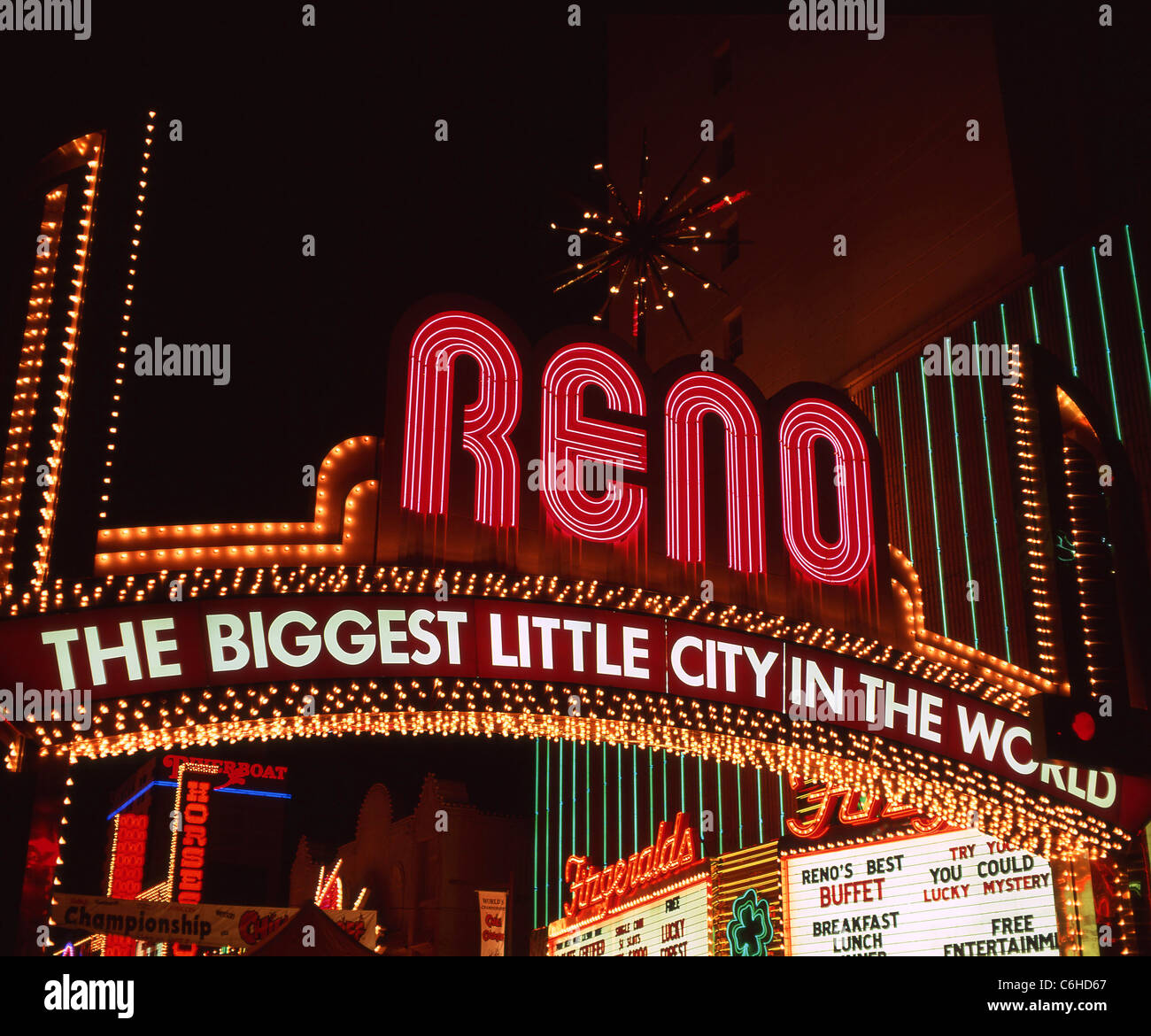 'The Biggest Little City in the World' Virginia Street arch sign at night, Downtown, Reno, Nevada, United States - Stock Image