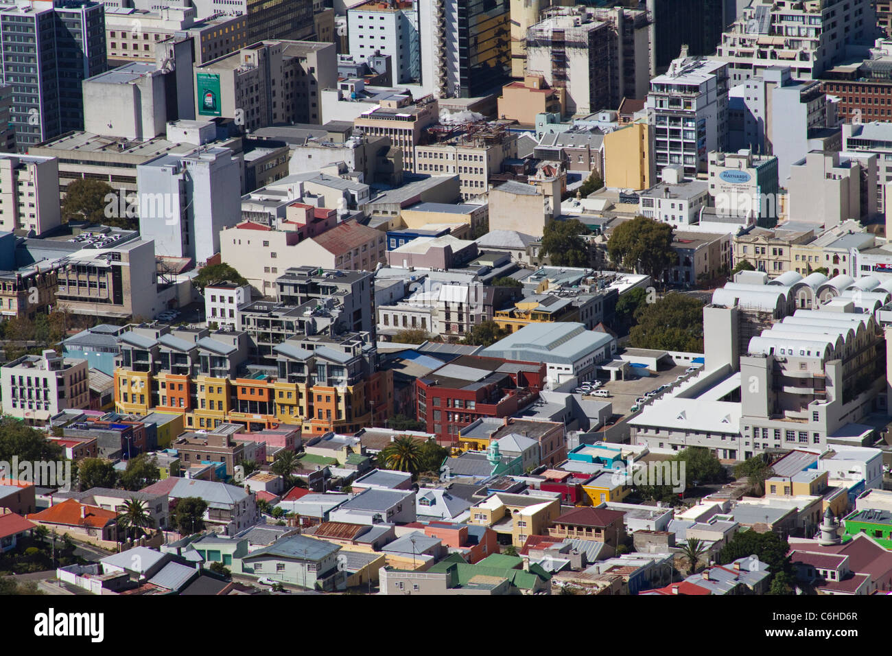 Aerial view of the Bo Kaap and Cape Town CBD - Stock Image