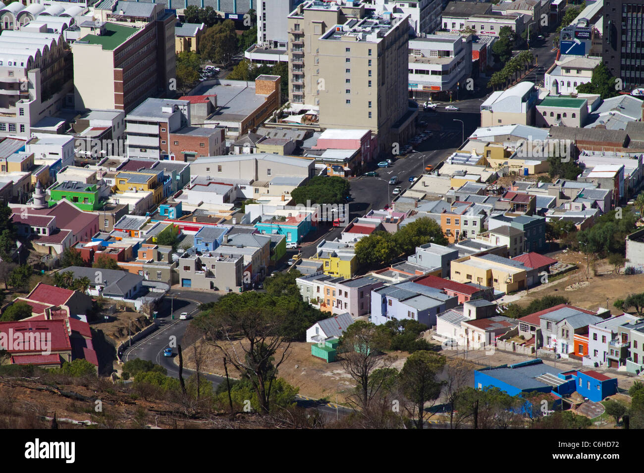Aerial view of the colourful buildings in the Bo Kaap and Cape Town CBD - Stock Image